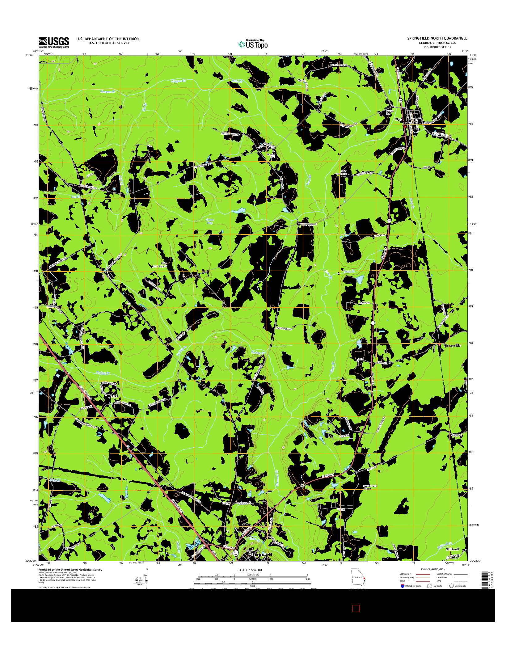 USGS US TOPO 7.5-MINUTE MAP FOR SPRINGFIELD NORTH, GA 2014