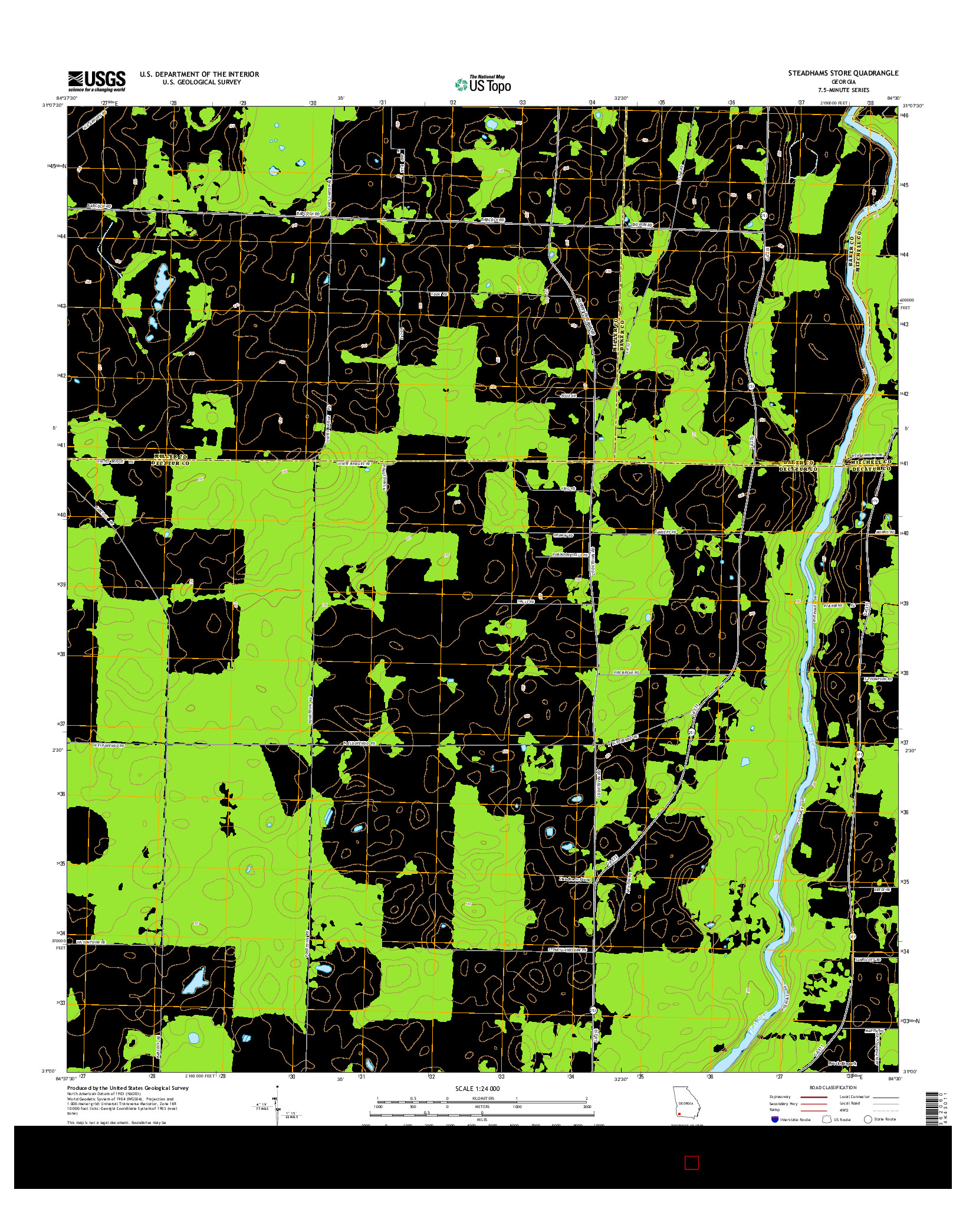 USGS US TOPO 7.5-MINUTE MAP FOR STEADHAMS STORE, GA 2014