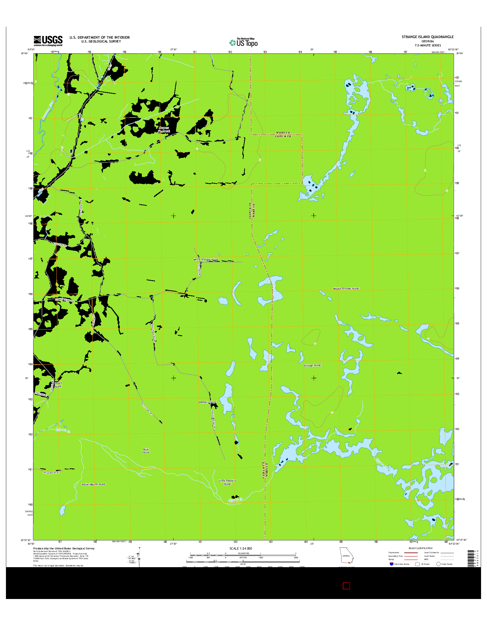 USGS US TOPO 7.5-MINUTE MAP FOR STRANGE ISLAND, GA 2014