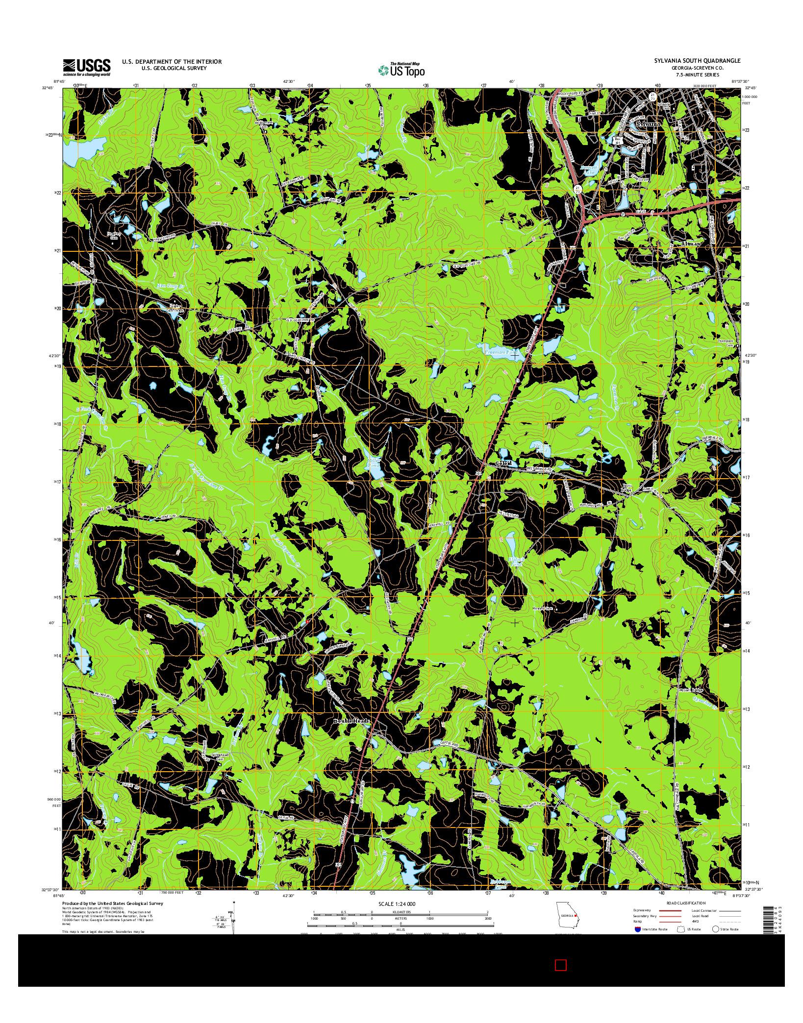 USGS US TOPO 7.5-MINUTE MAP FOR SYLVANIA SOUTH, GA 2014
