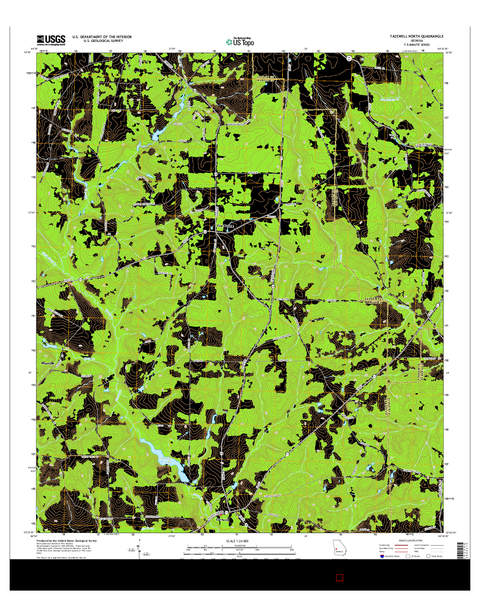 USGS US TOPO 7.5-MINUTE MAP FOR TAZEWELL NORTH, GA 2014