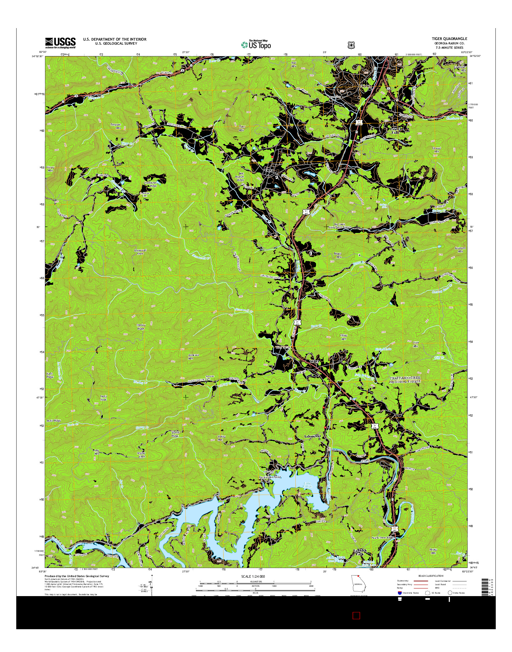 USGS US TOPO 7.5-MINUTE MAP FOR TIGER, GA 2014