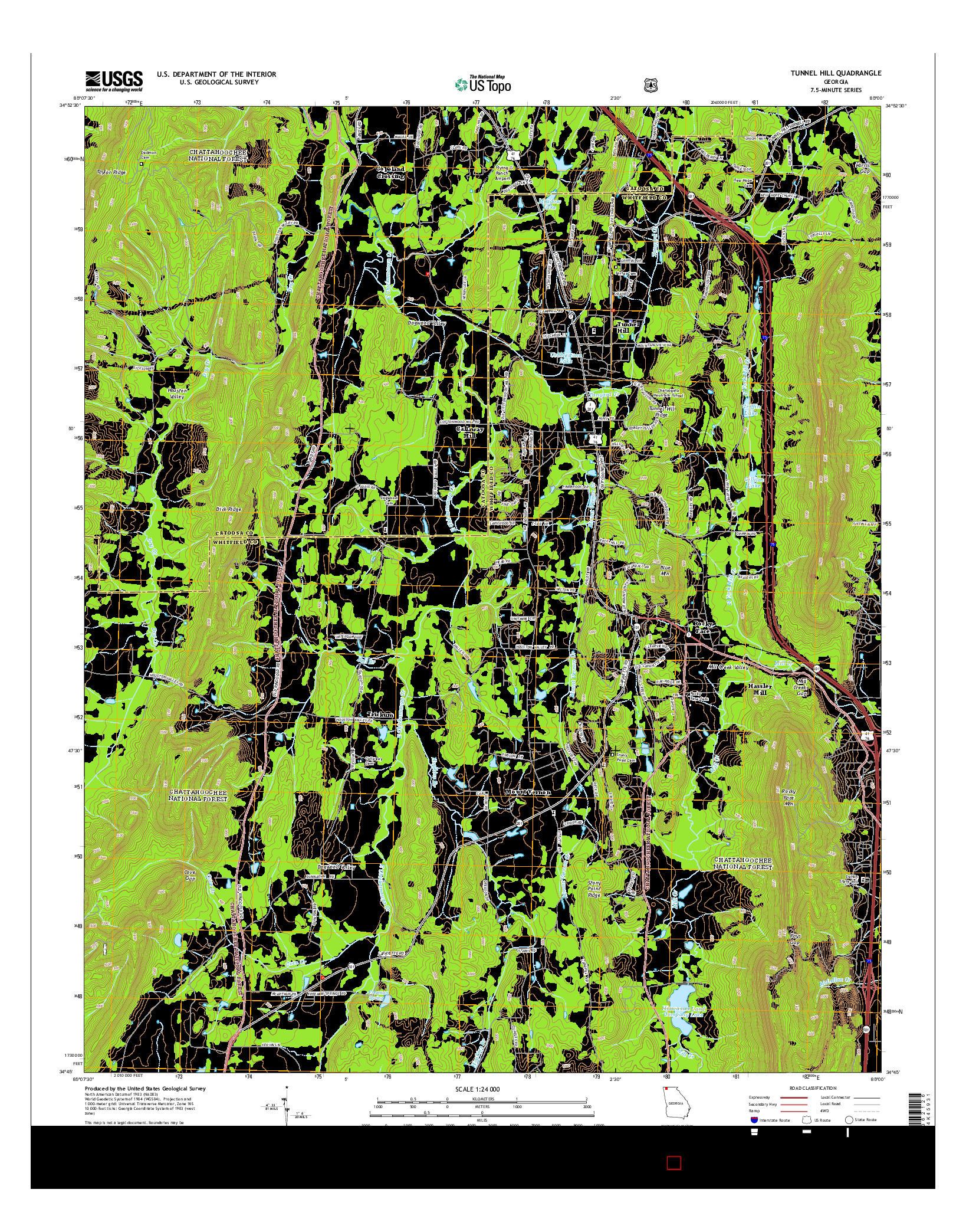 USGS US TOPO 7.5-MINUTE MAP FOR TUNNEL HILL, GA 2014