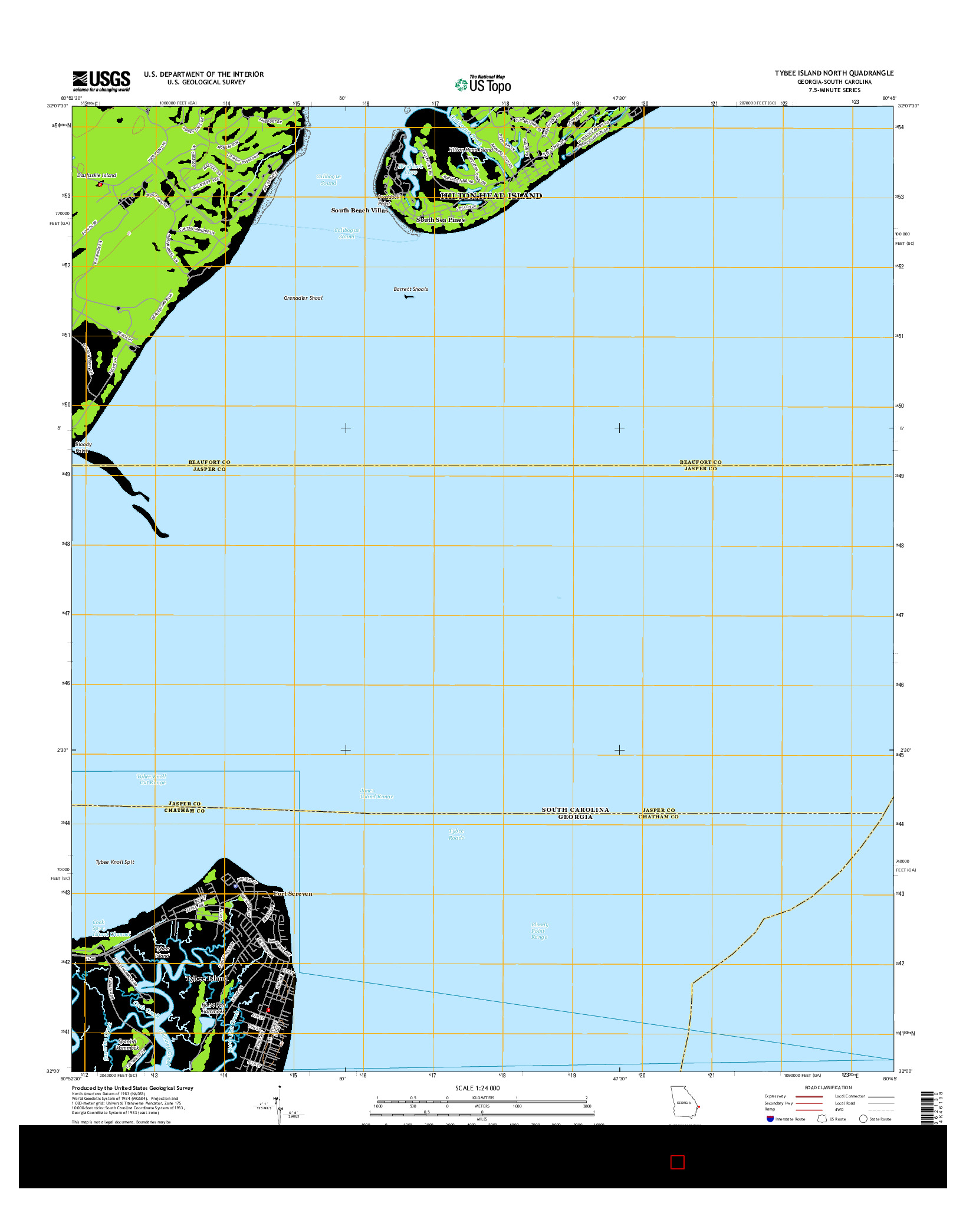 USGS US TOPO 7.5-MINUTE MAP FOR TYBEE ISLAND NORTH, GA-SC 2014