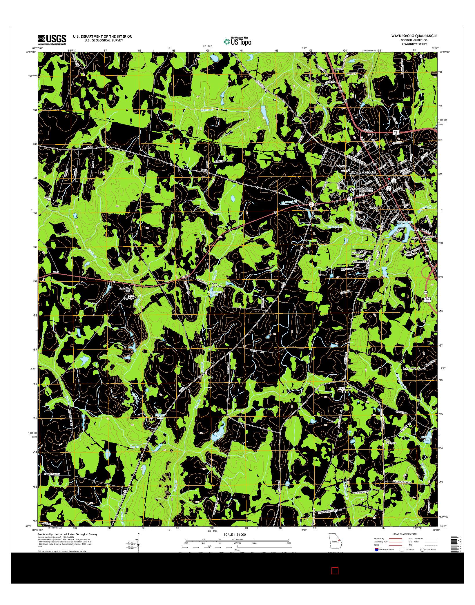 USGS US TOPO 7.5-MINUTE MAP FOR WAYNESBORO, GA 2014