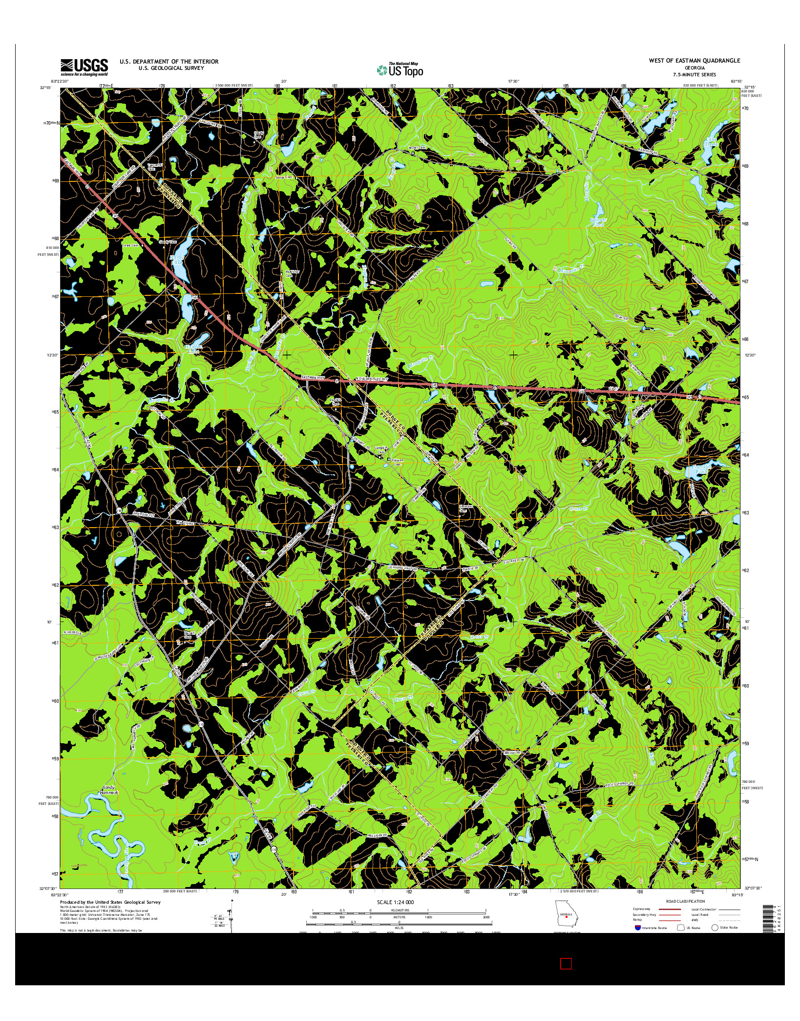 USGS US TOPO 7.5-MINUTE MAP FOR WEST OF EASTMAN, GA 2014