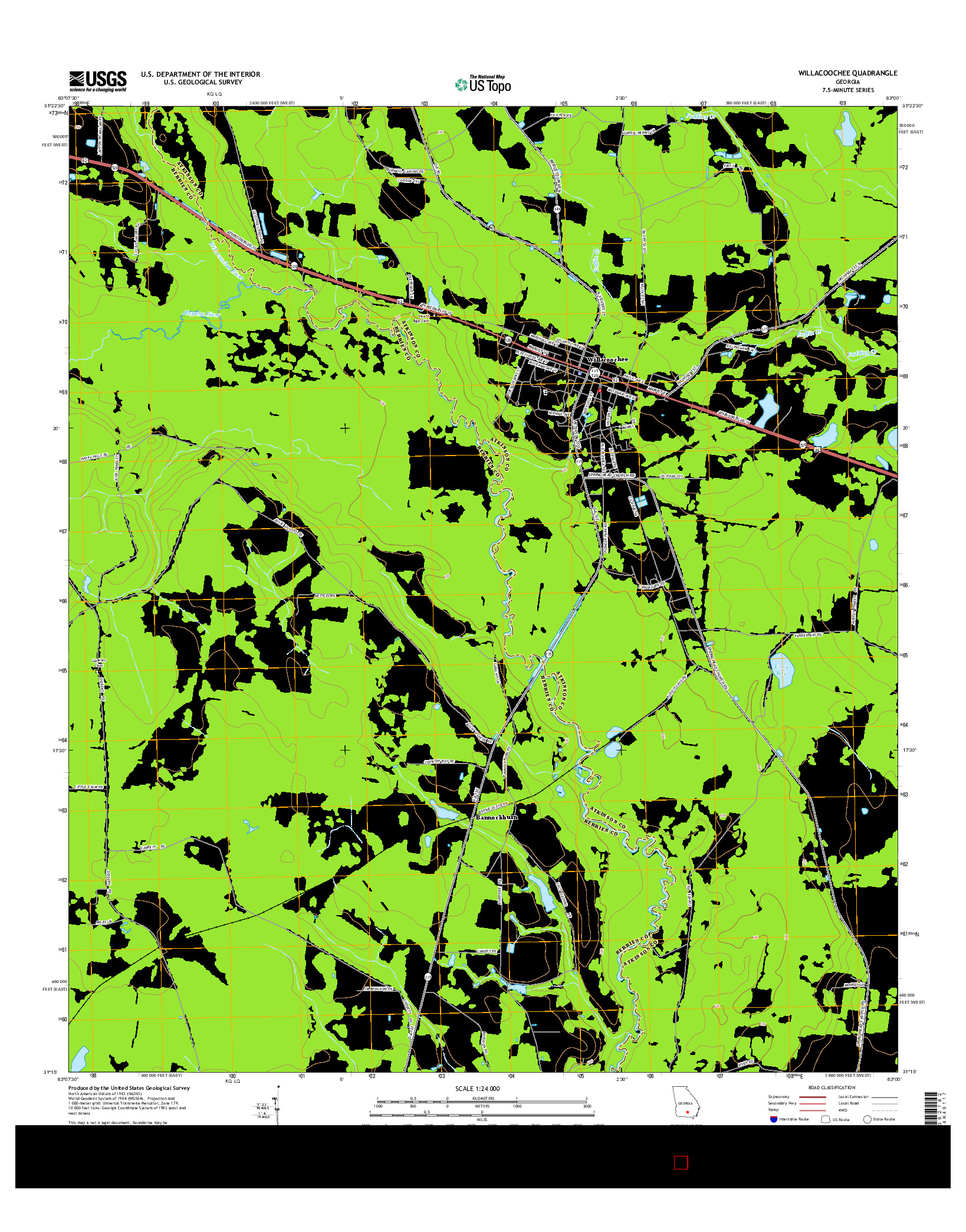 USGS US TOPO 7.5-MINUTE MAP FOR WILLACOOCHEE, GA 2014