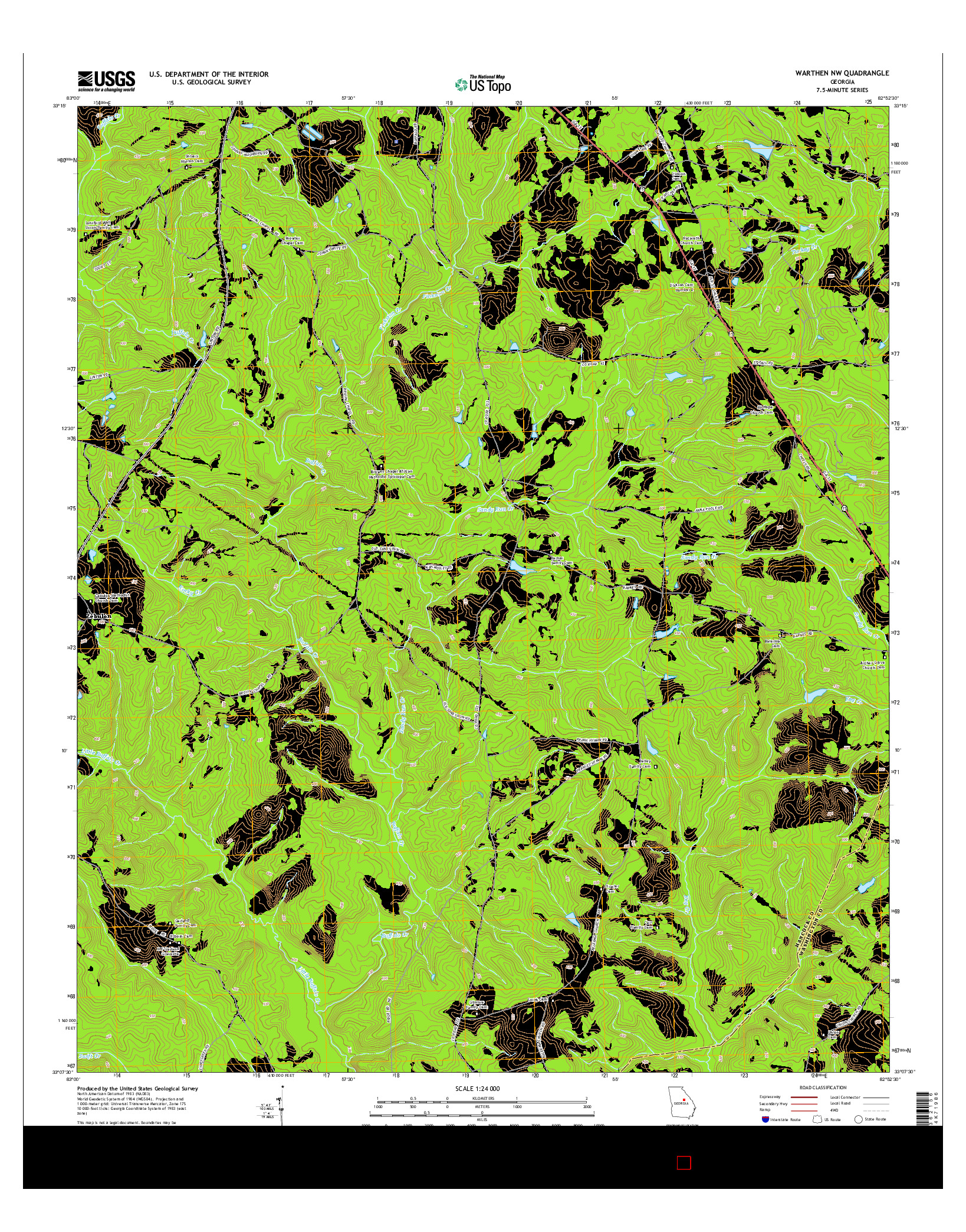 USGS US TOPO 7.5-MINUTE MAP FOR WARTHEN NW, GA 2014
