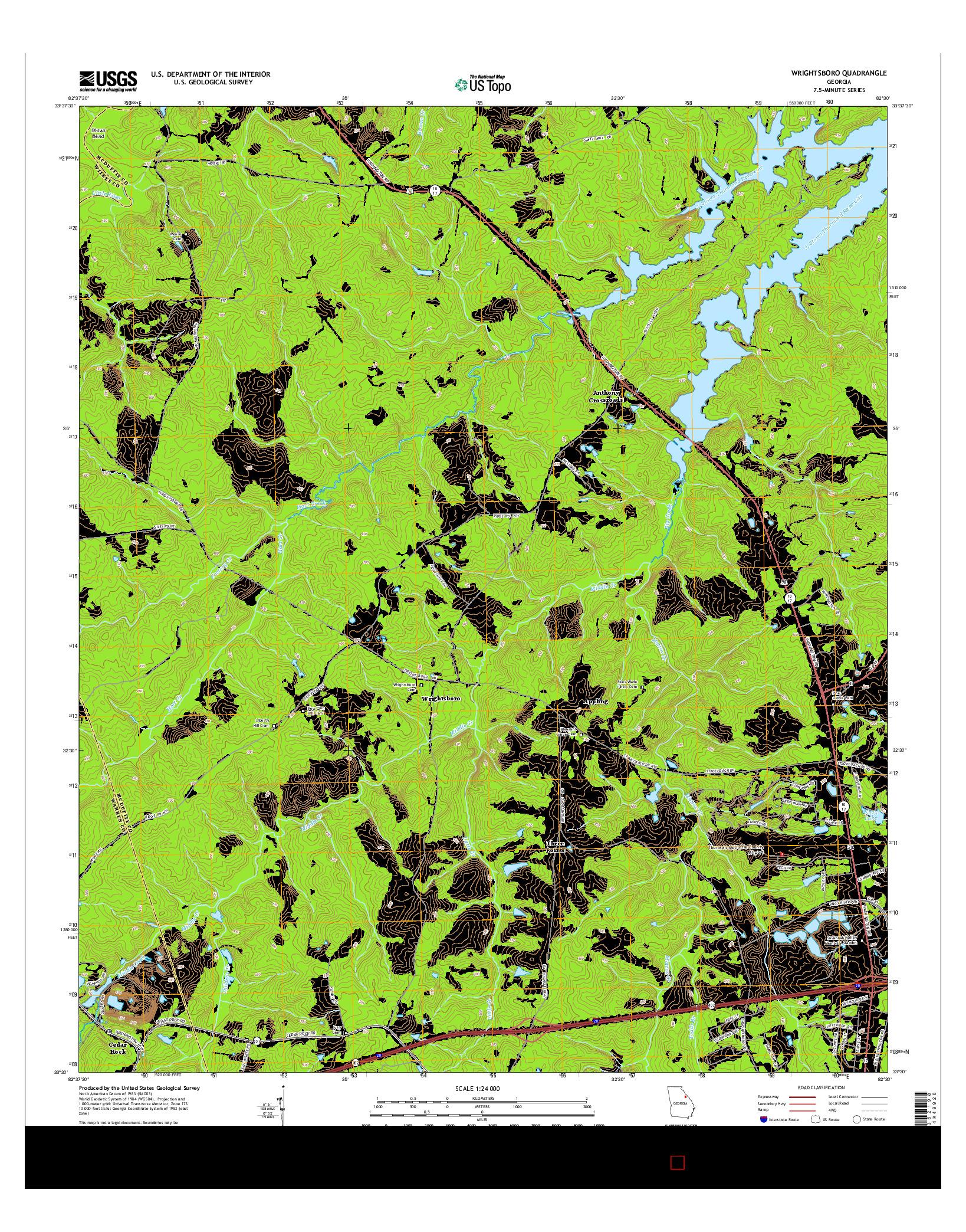 USGS US TOPO 7.5-MINUTE MAP FOR WRIGHTSBORO, GA 2014