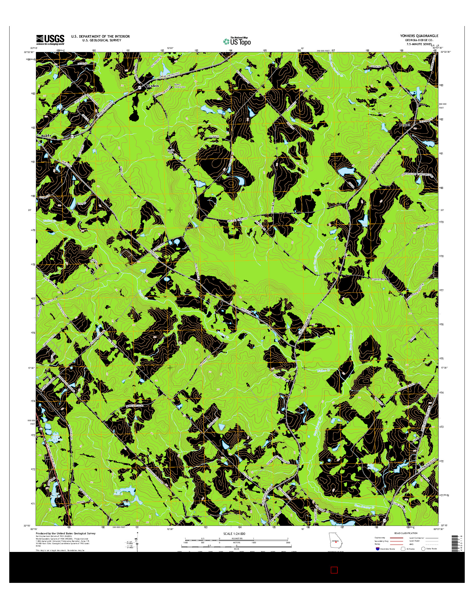 USGS US TOPO 7.5-MINUTE MAP FOR YONKERS, GA 2014