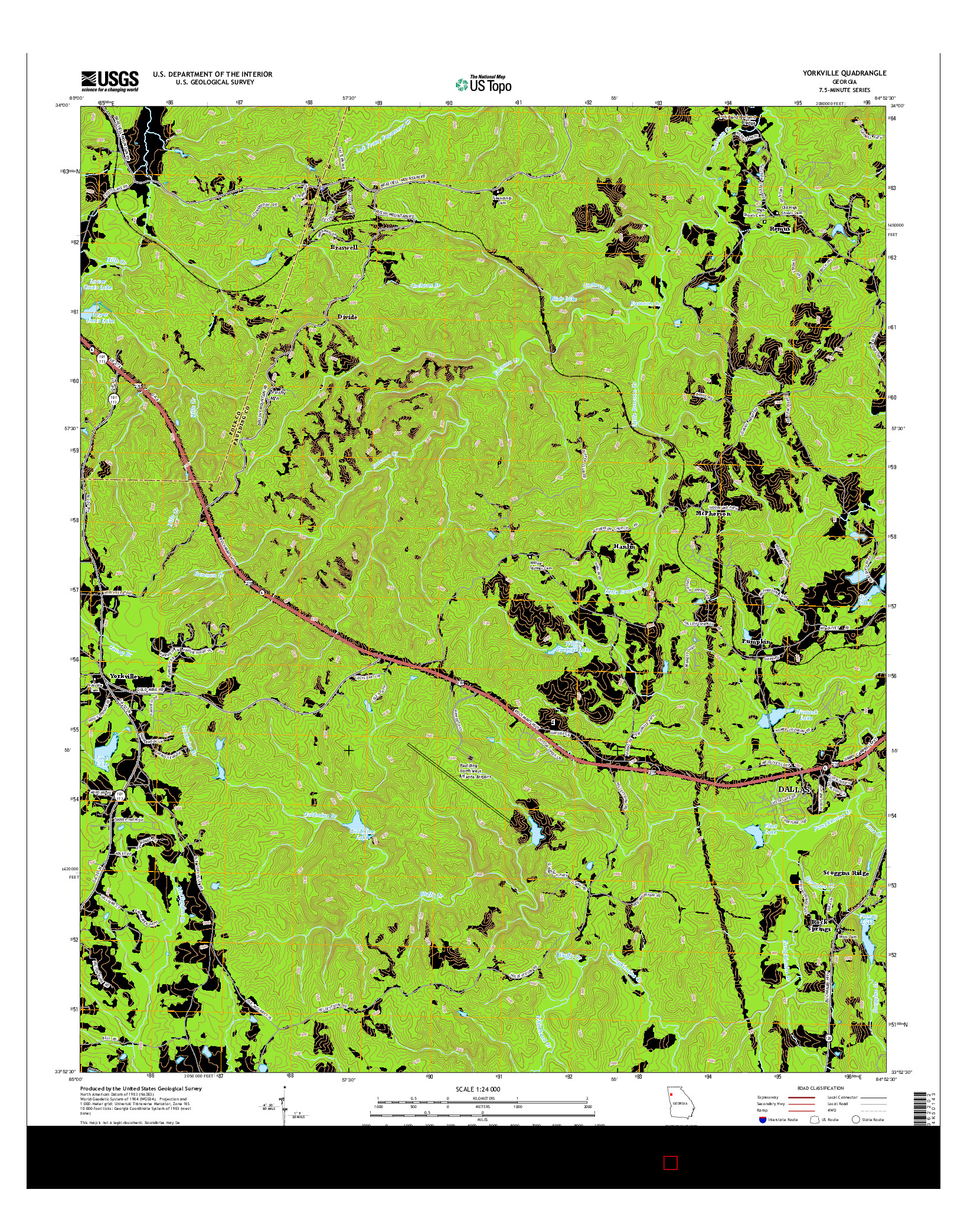 USGS US TOPO 7.5-MINUTE MAP FOR YORKVILLE, GA 2014