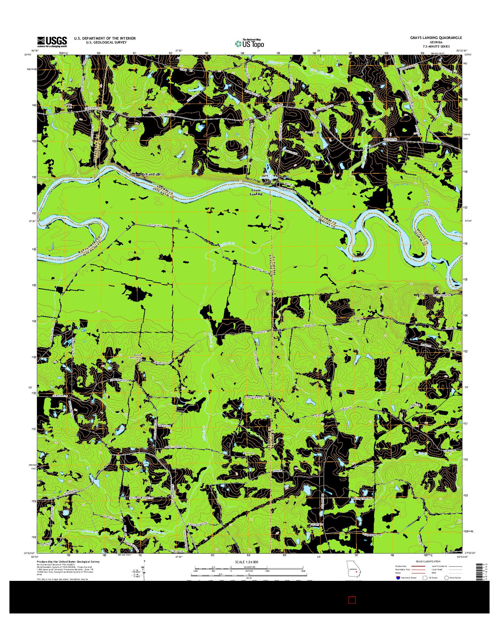 USGS US TOPO 7.5-MINUTE MAP FOR GRAYS LANDING, GA 2014