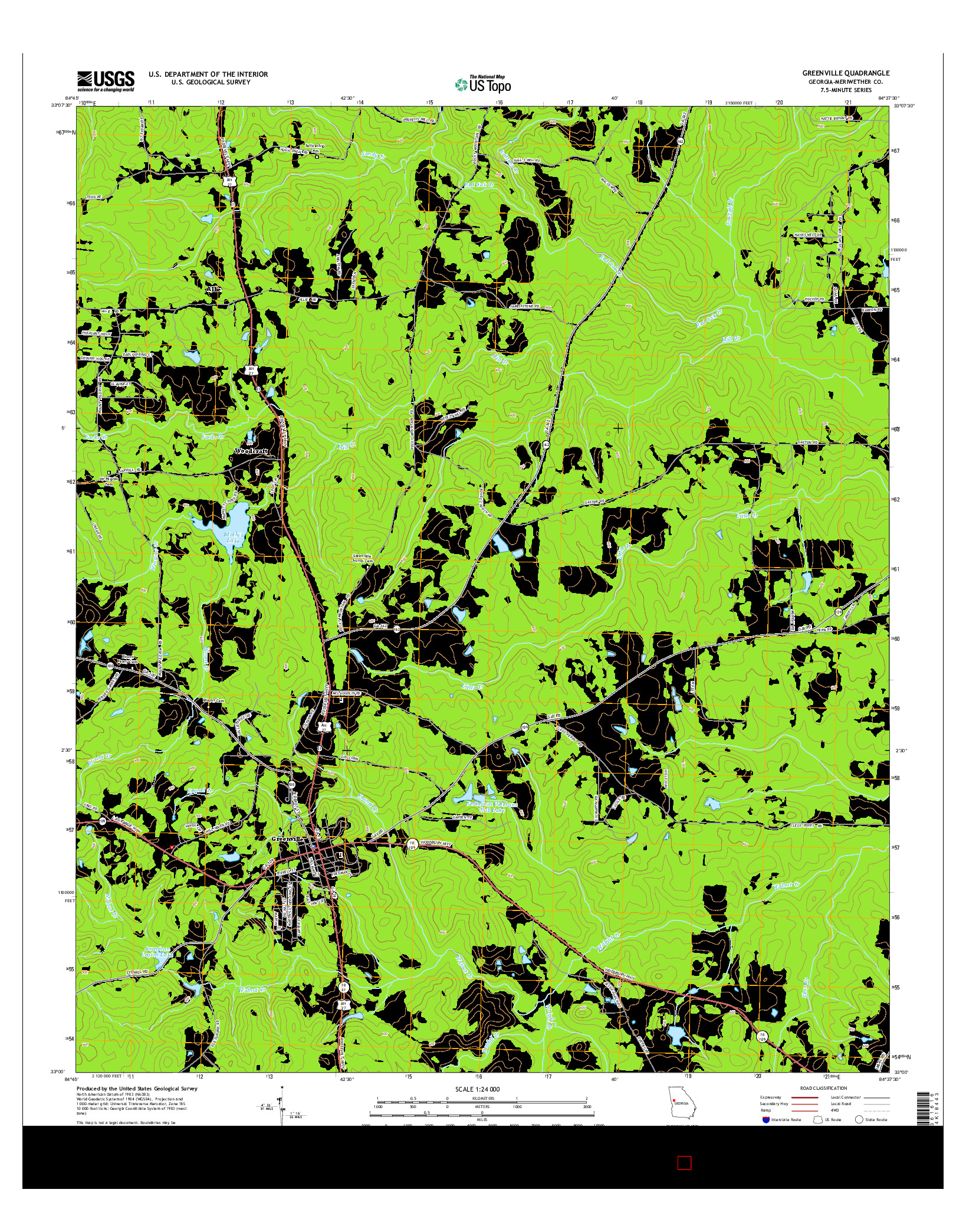 USGS US TOPO 7.5-MINUTE MAP FOR GREENVILLE, GA 2014