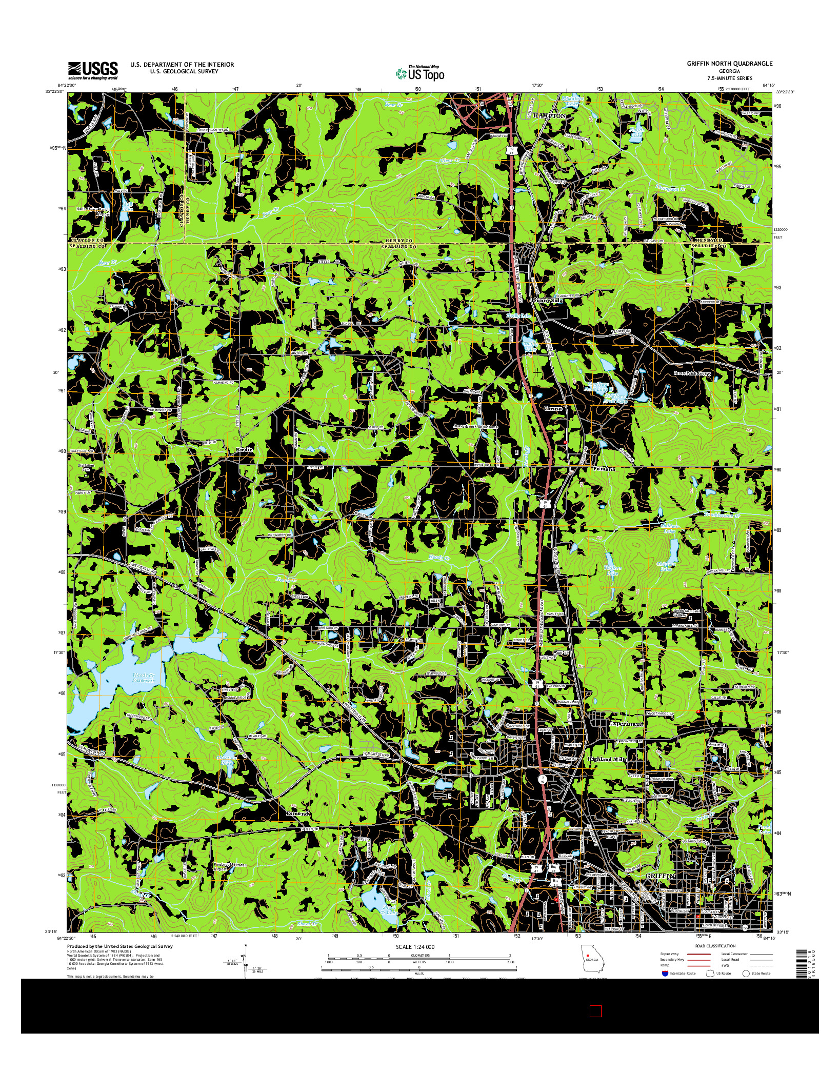 USGS US TOPO 7.5-MINUTE MAP FOR GRIFFIN NORTH, GA 2014
