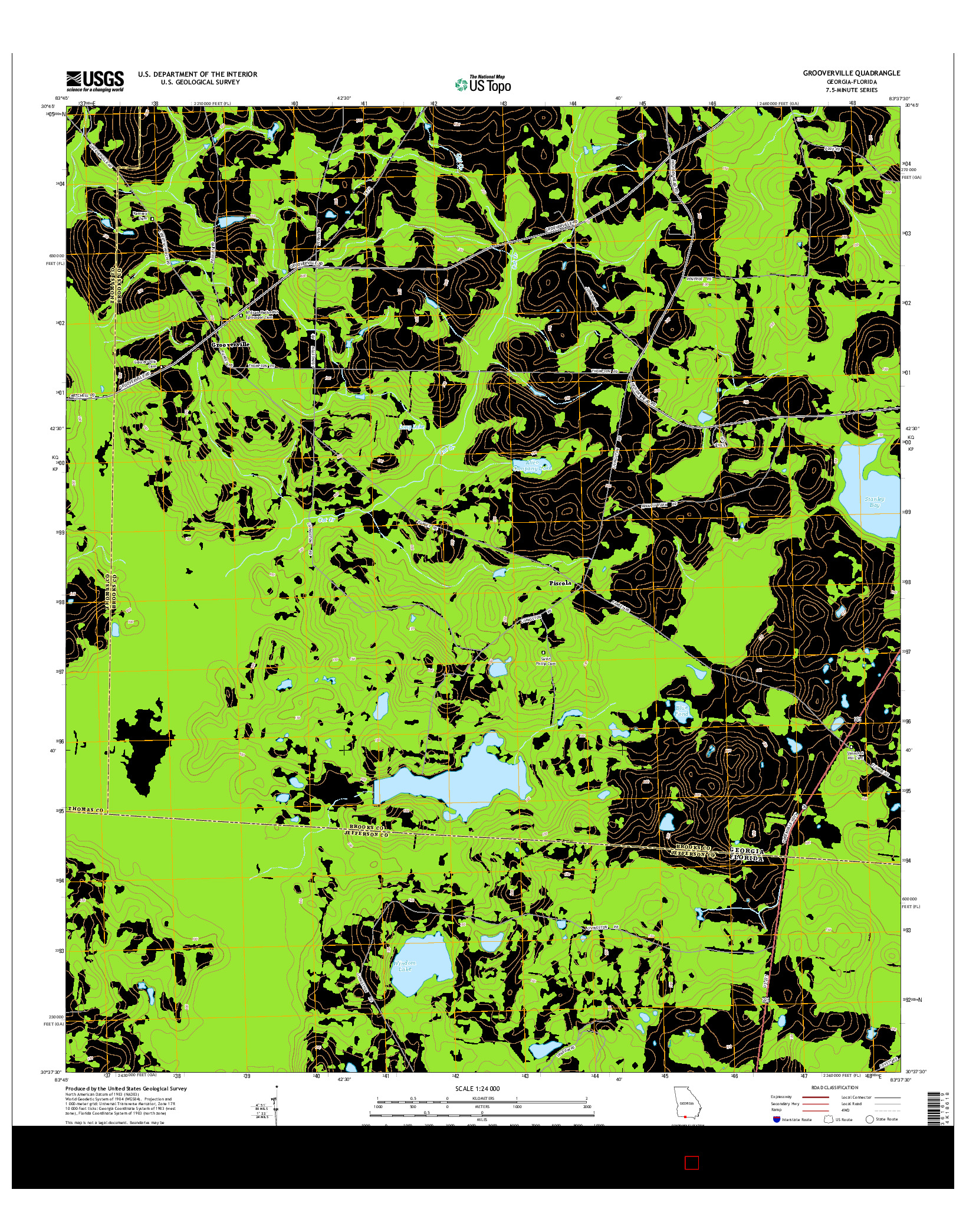 USGS US TOPO 7.5-MINUTE MAP FOR GROOVERVILLE, GA-FL 2014
