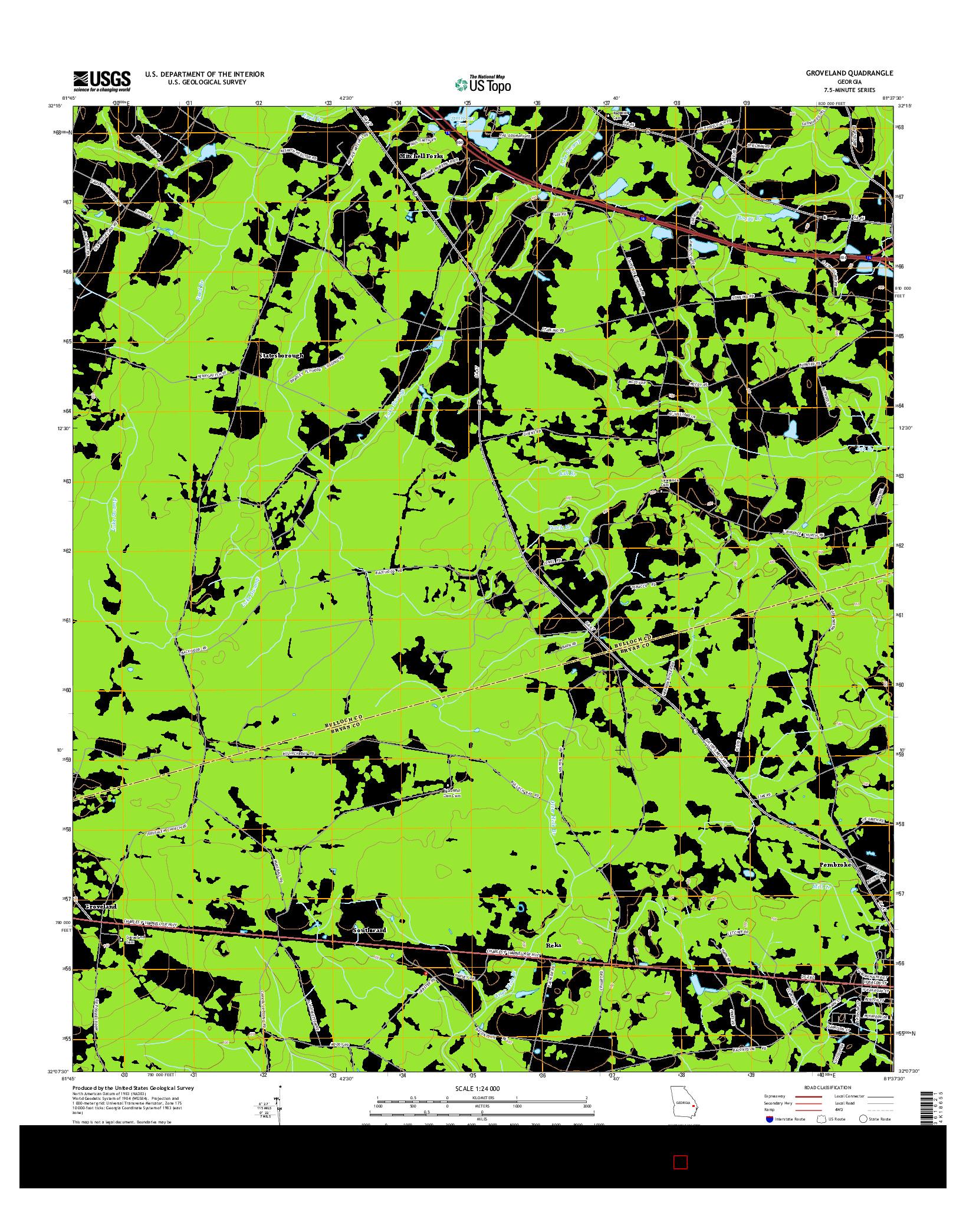 USGS US TOPO 7.5-MINUTE MAP FOR GROVELAND, GA 2014