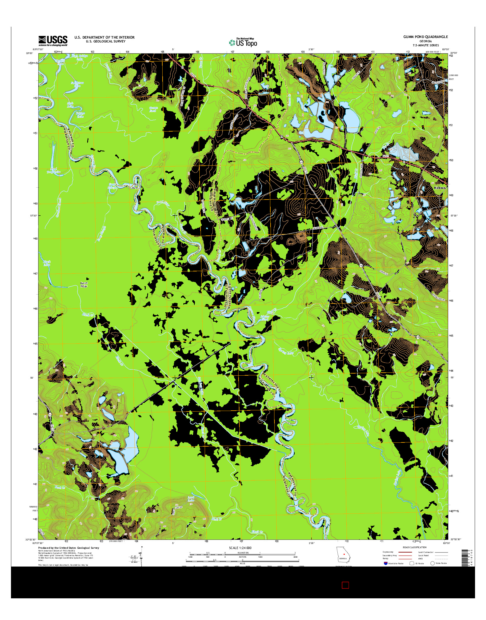 USGS US TOPO 7.5-MINUTE MAP FOR GUMM POND, GA 2014