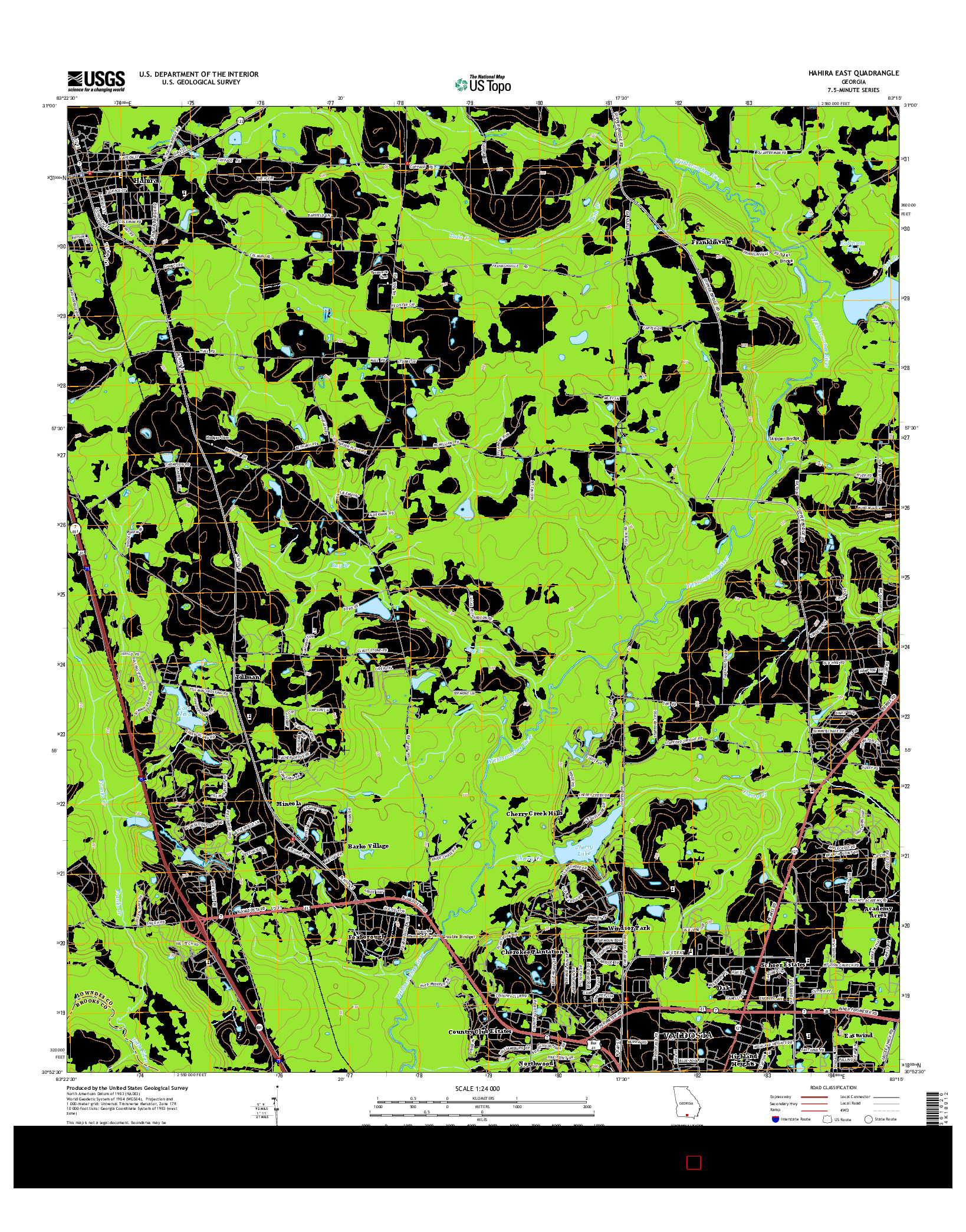 USGS US TOPO 7.5-MINUTE MAP FOR HAHIRA EAST, GA 2014
