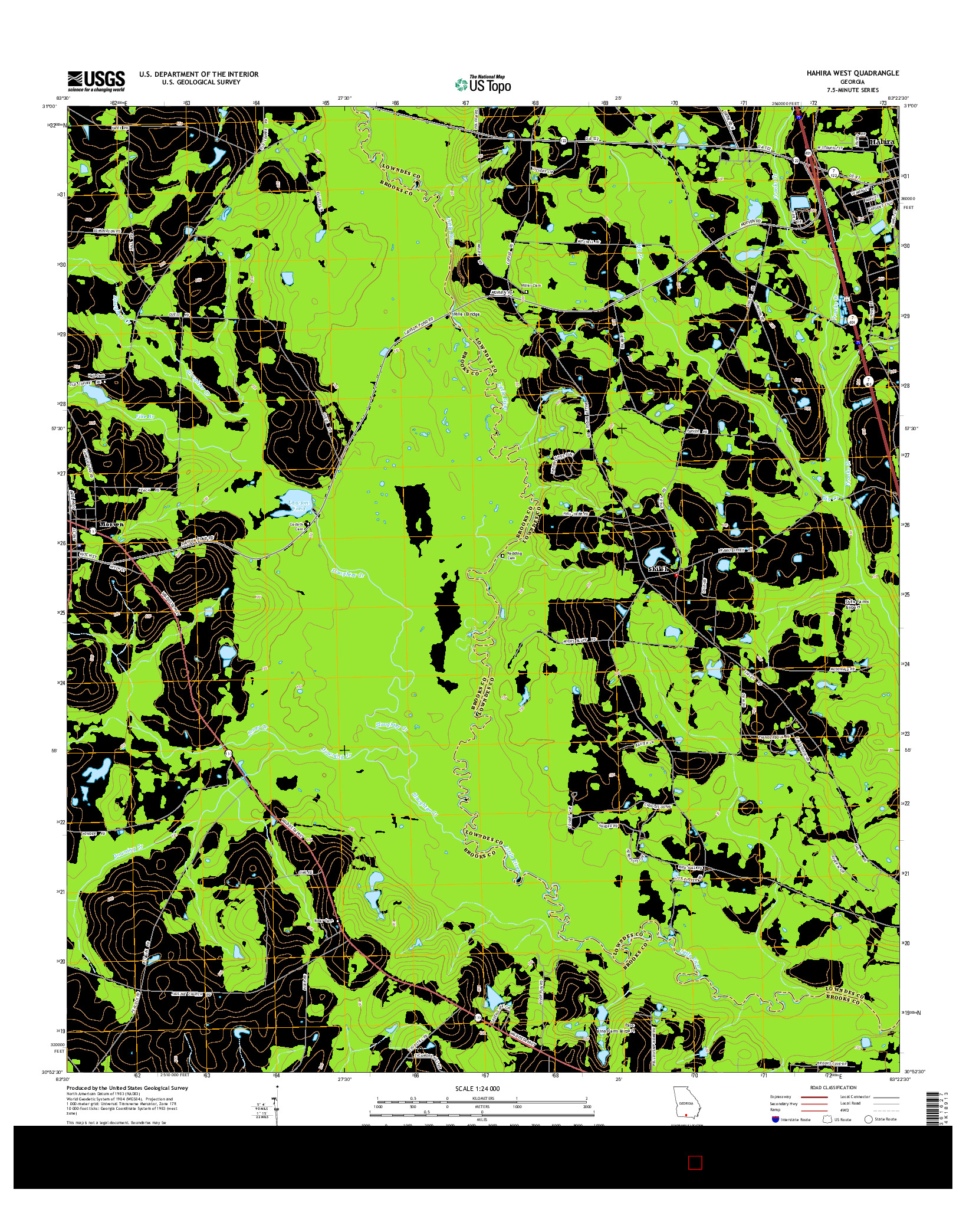 USGS US TOPO 7.5-MINUTE MAP FOR HAHIRA WEST, GA 2014