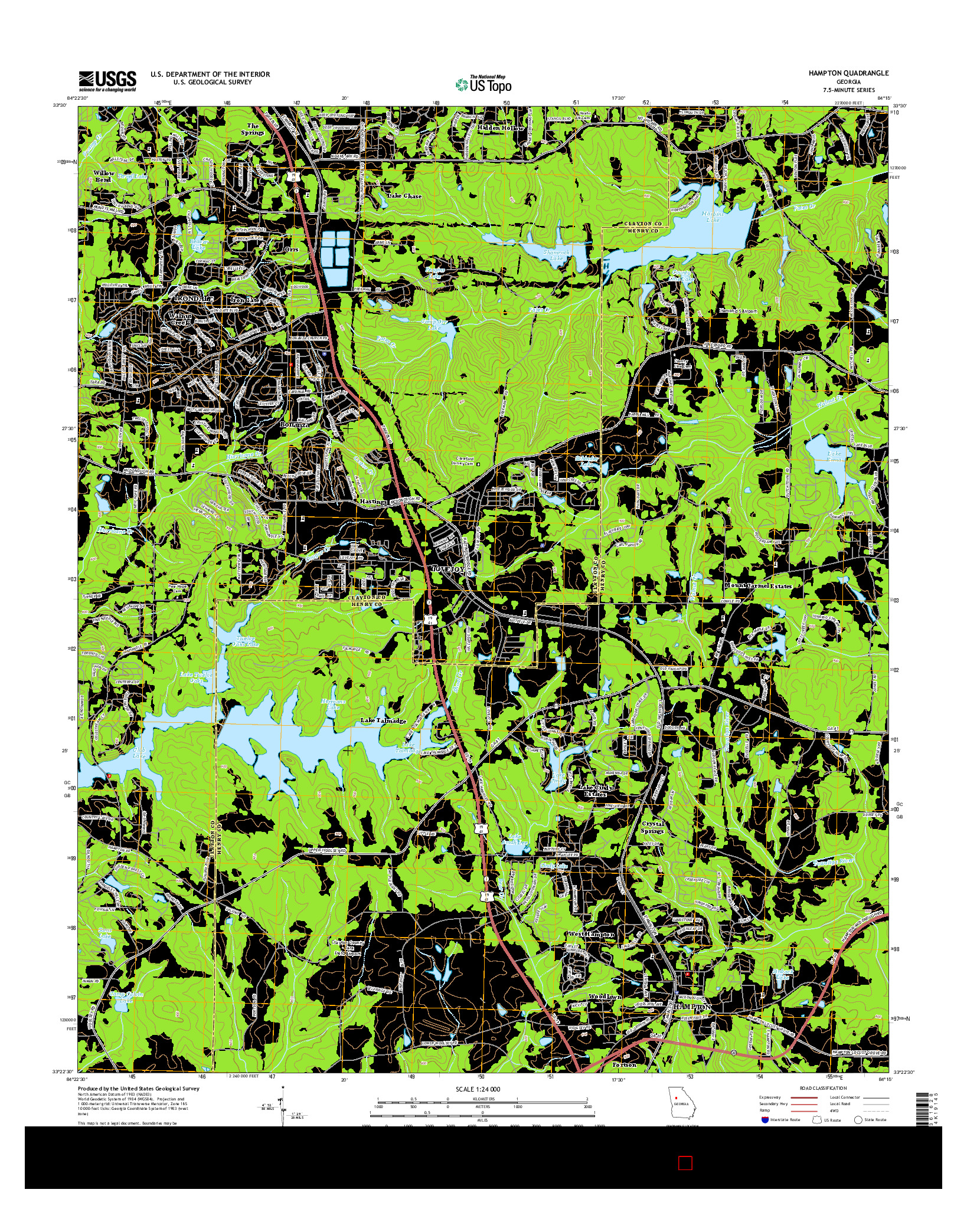 USGS US TOPO 7.5-MINUTE MAP FOR HAMPTON, GA 2014