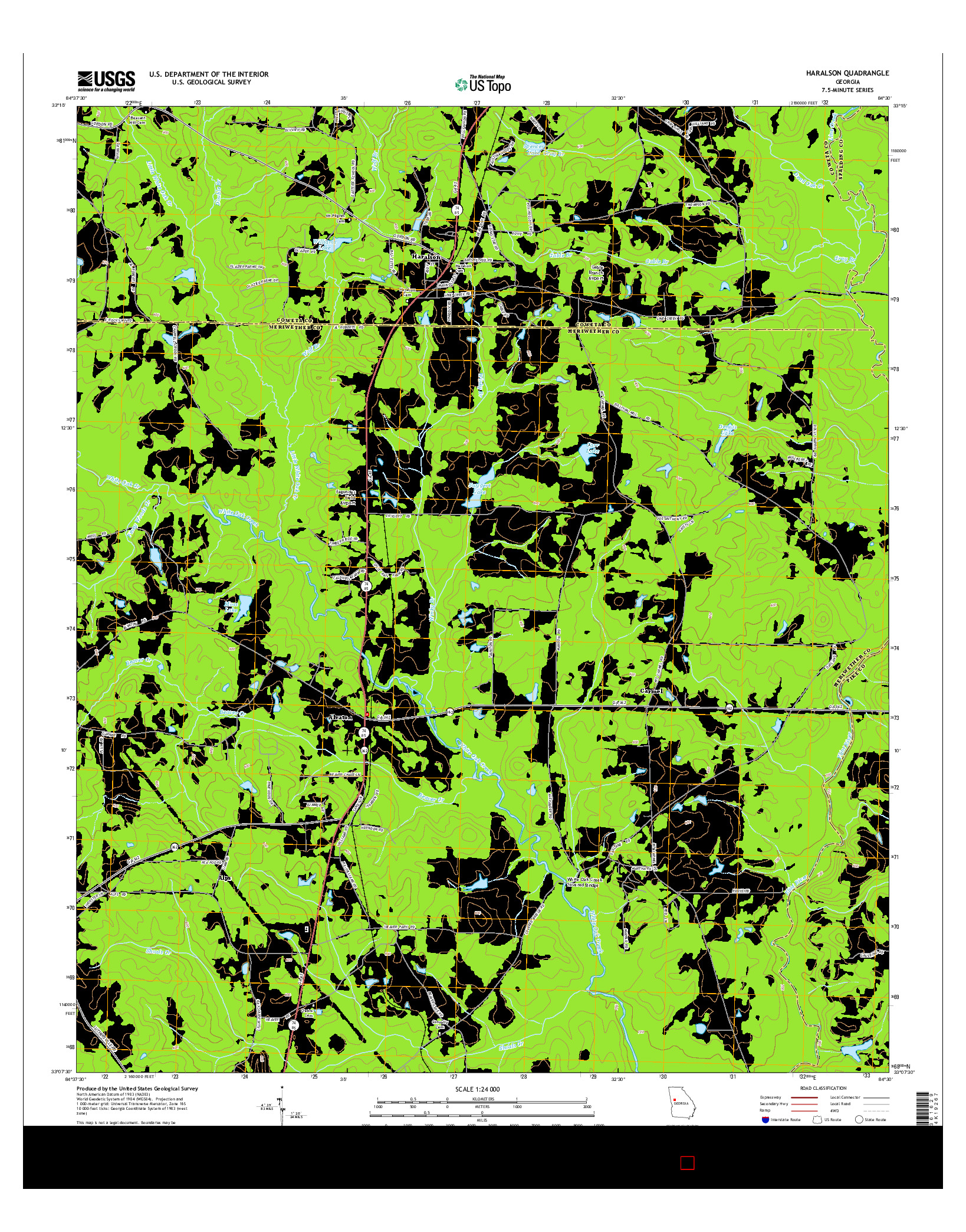 USGS US TOPO 7.5-MINUTE MAP FOR HARALSON, GA 2014