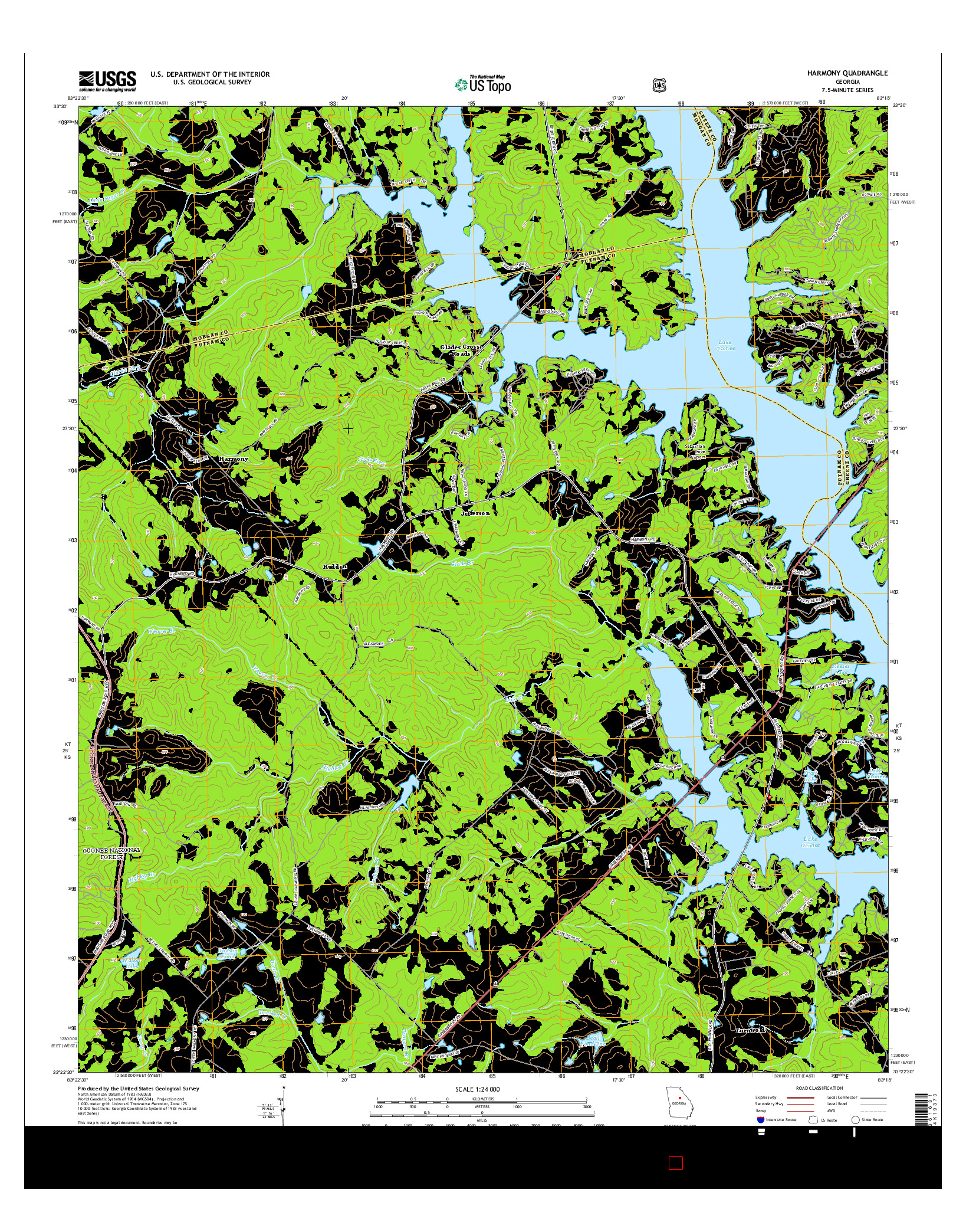 USGS US TOPO 7.5-MINUTE MAP FOR HARMONY, GA 2014