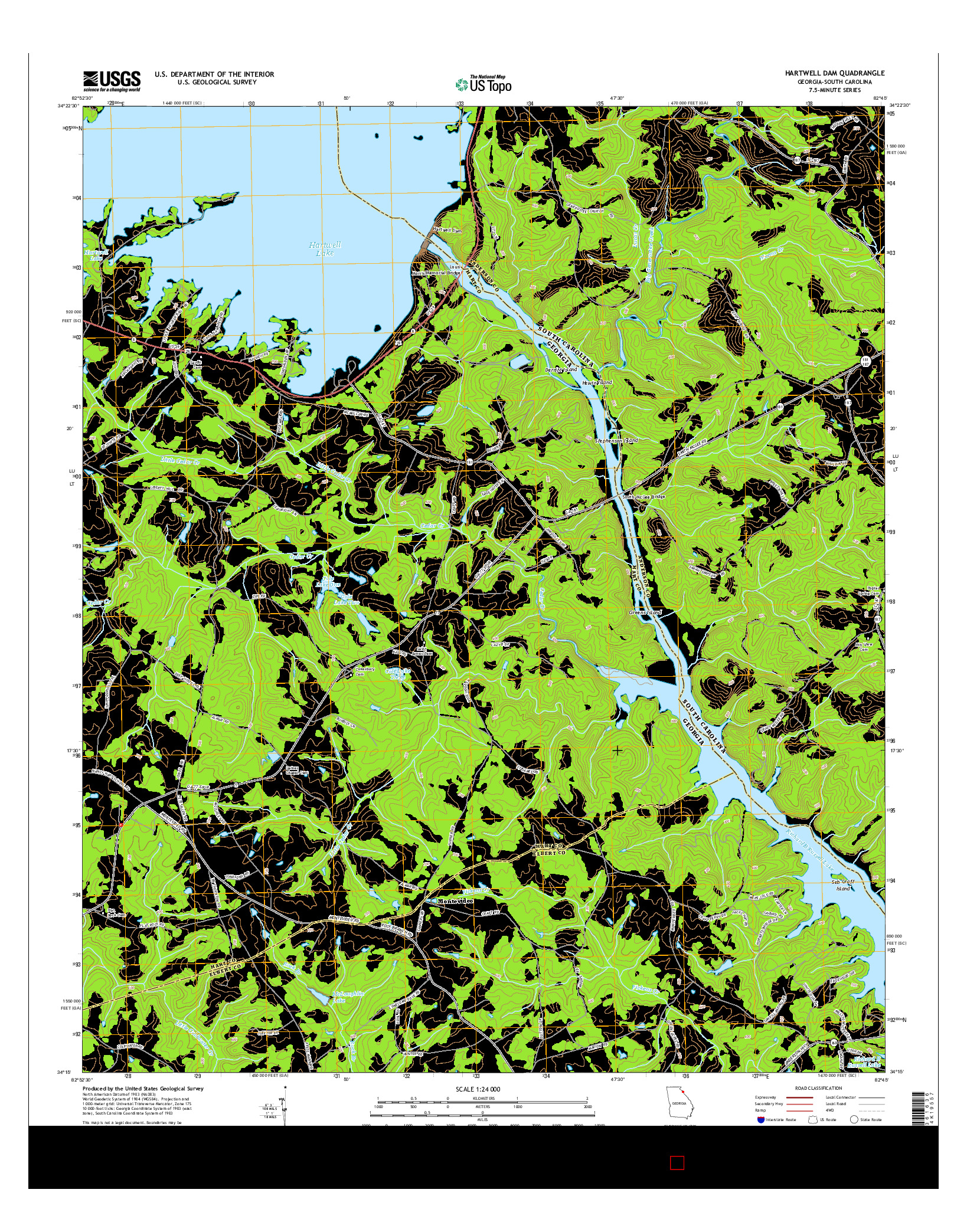 USGS US TOPO 7.5-MINUTE MAP FOR HARTWELL DAM, GA-SC 2014