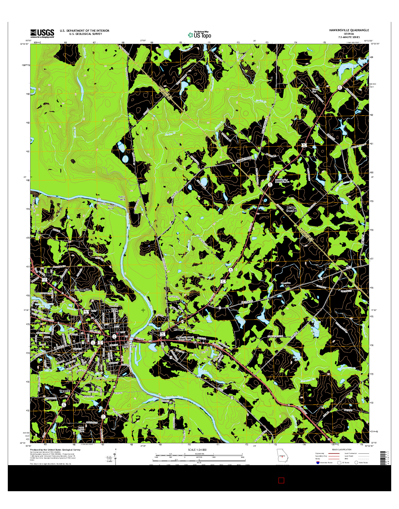 USGS US TOPO 7.5-MINUTE MAP FOR HAWKINSVILLE, GA 2014