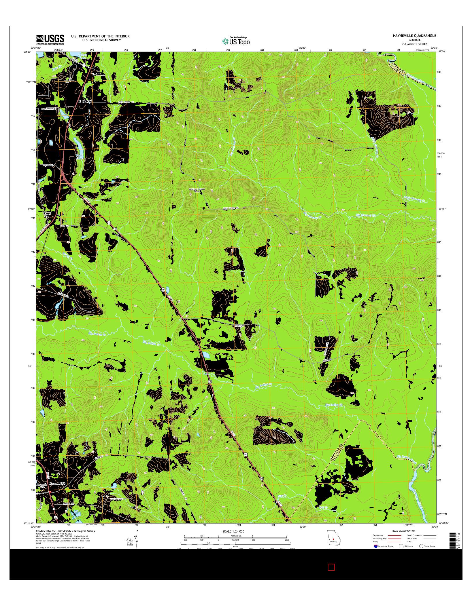 USGS US TOPO 7.5-MINUTE MAP FOR HAYNEVILLE, GA 2014