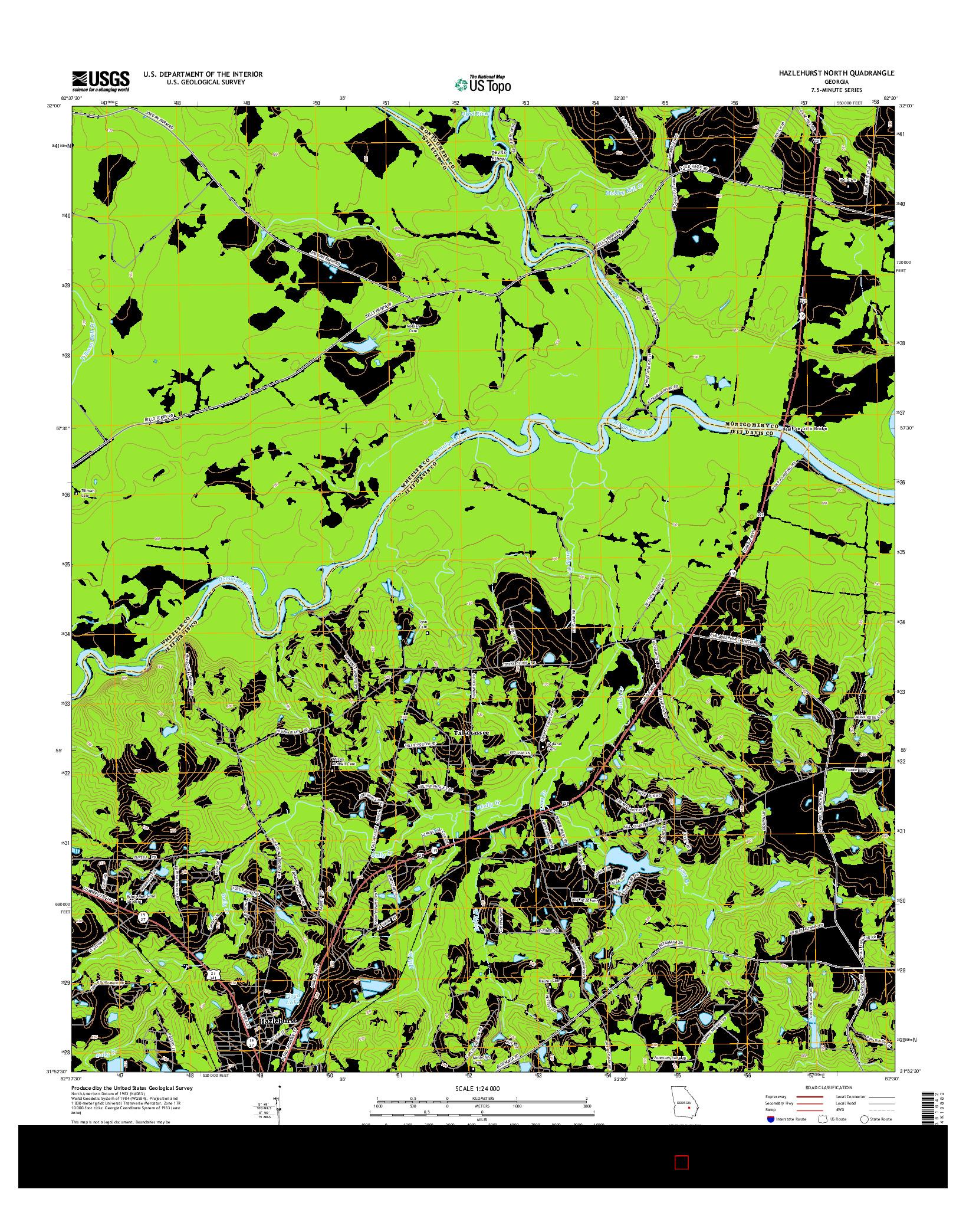USGS US TOPO 7.5-MINUTE MAP FOR HAZLEHURST NORTH, GA 2014