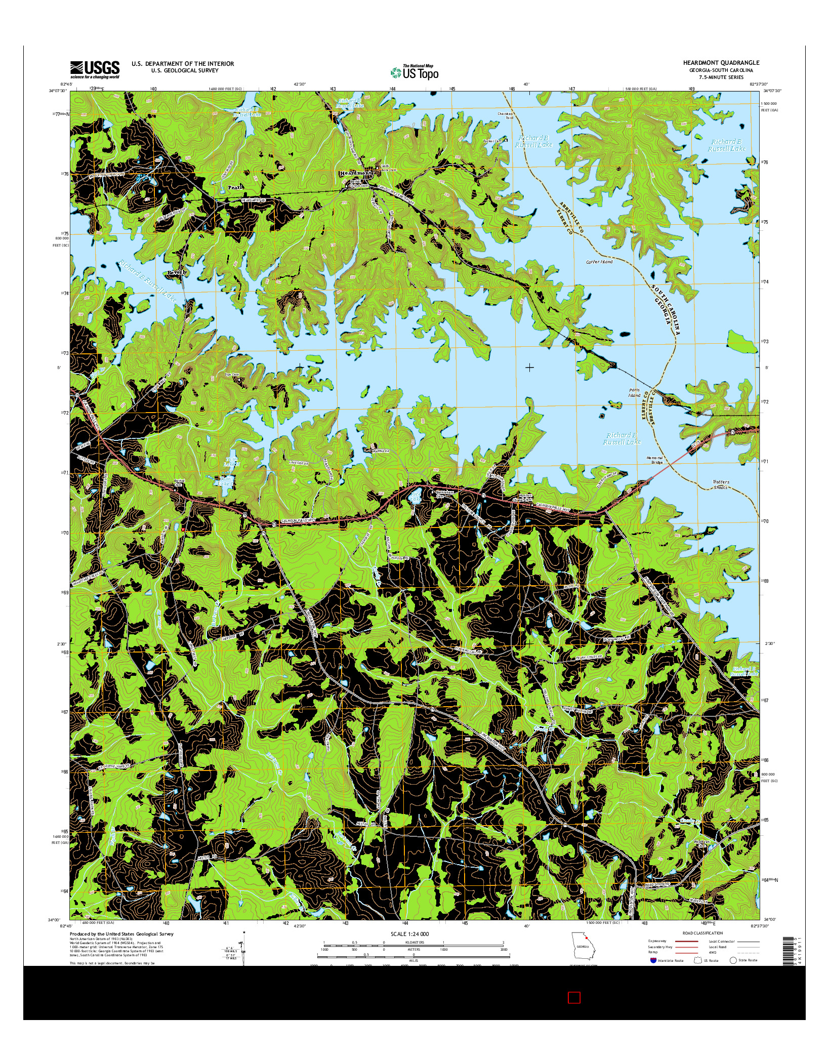 USGS US TOPO 7.5-MINUTE MAP FOR HEARDMONT, GA-SC 2014