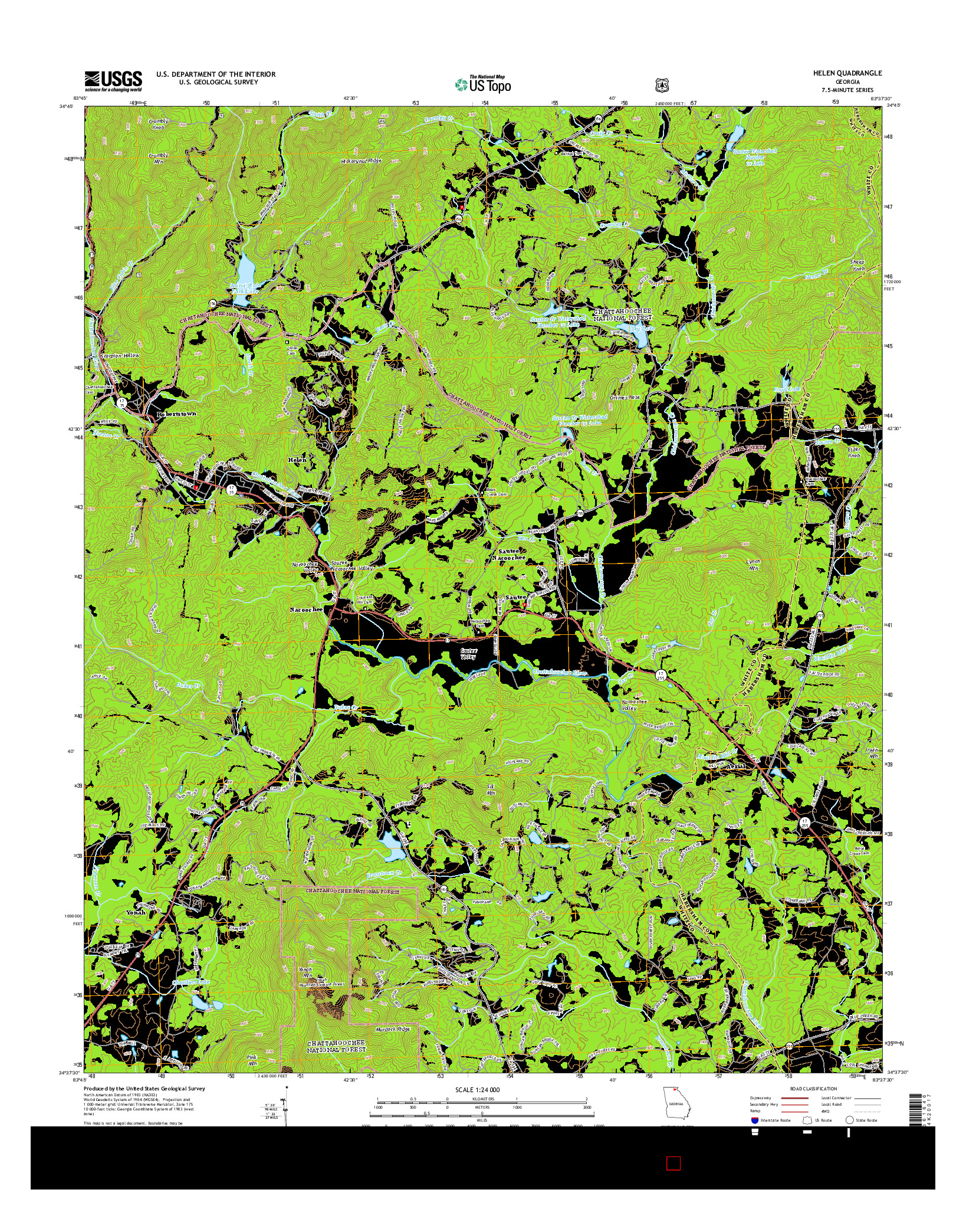 USGS US TOPO 7.5-MINUTE MAP FOR HELEN, GA 2014