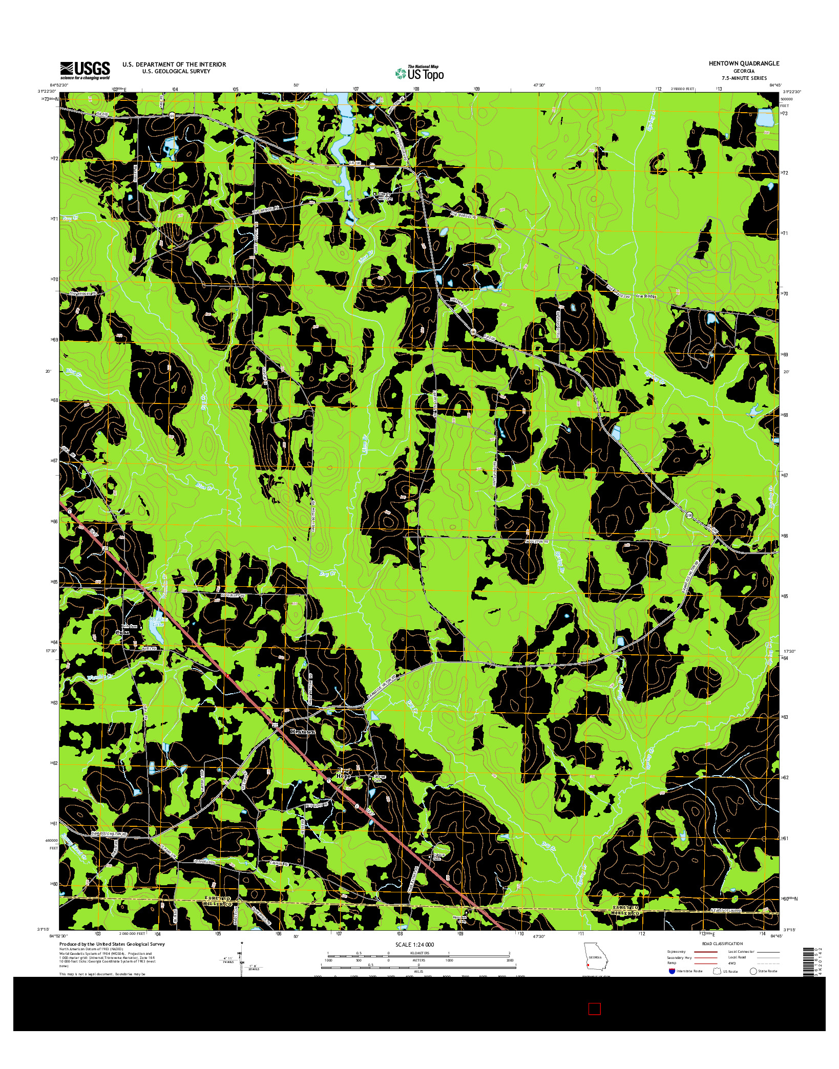 USGS US TOPO 7.5-MINUTE MAP FOR HENTOWN, GA 2014