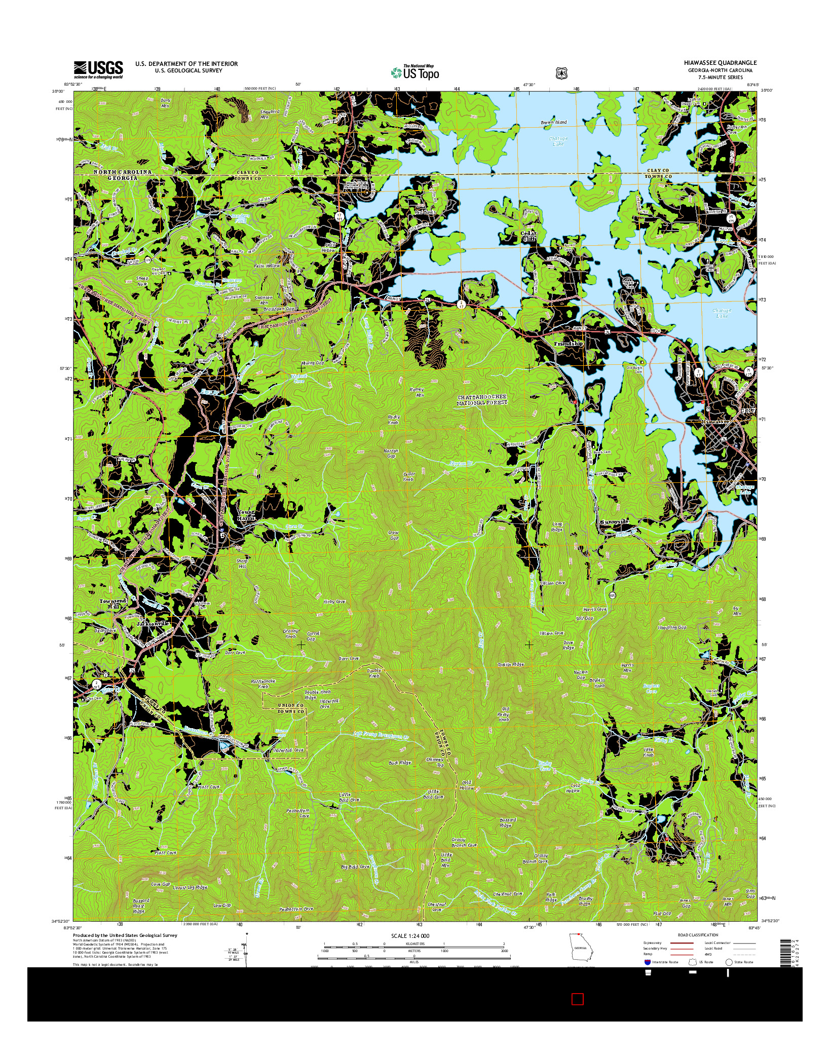 USGS US TOPO 7.5-MINUTE MAP FOR HIAWASSEE, GA-NC 2014
