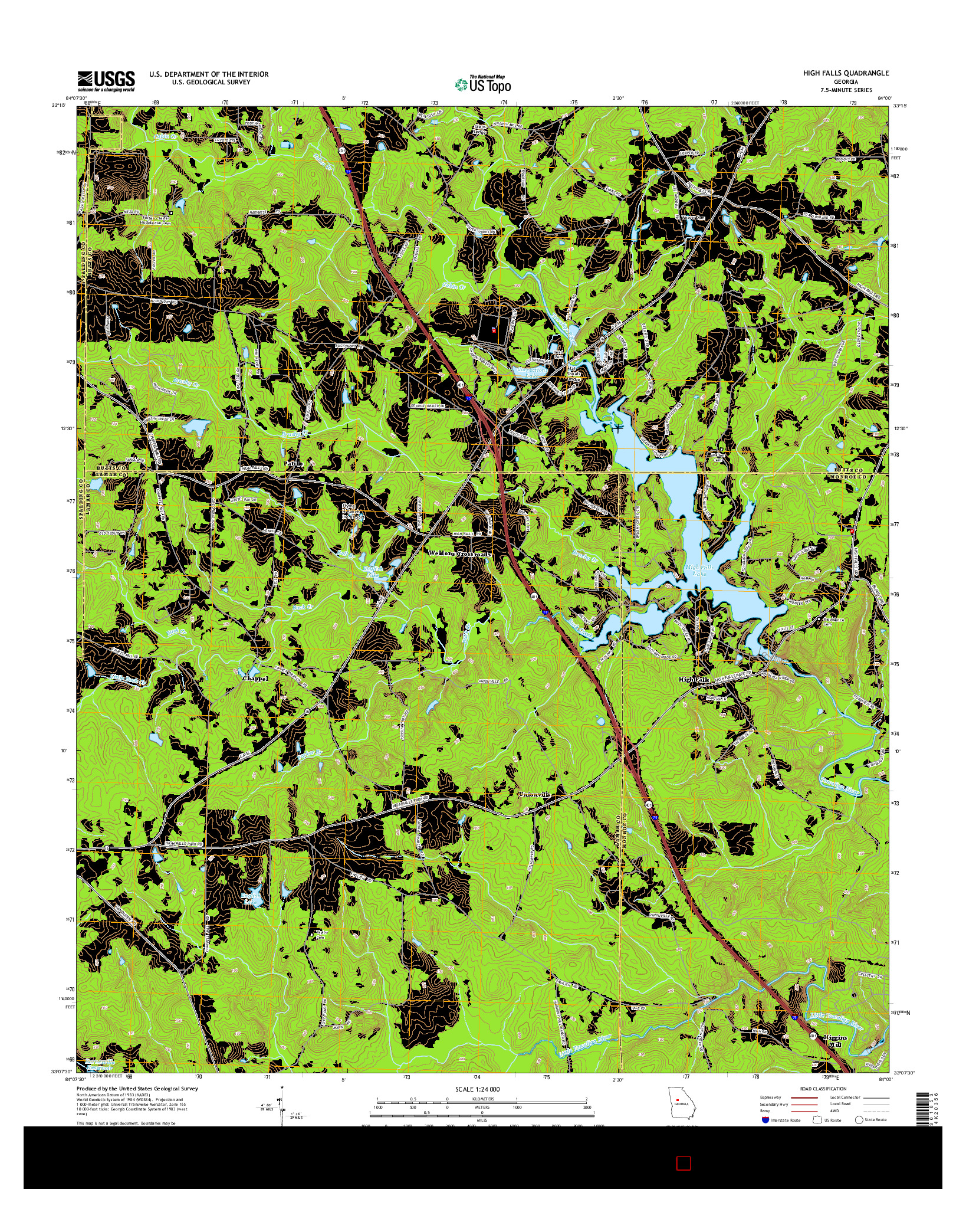 USGS US TOPO 7.5-MINUTE MAP FOR HIGH FALLS, GA 2014