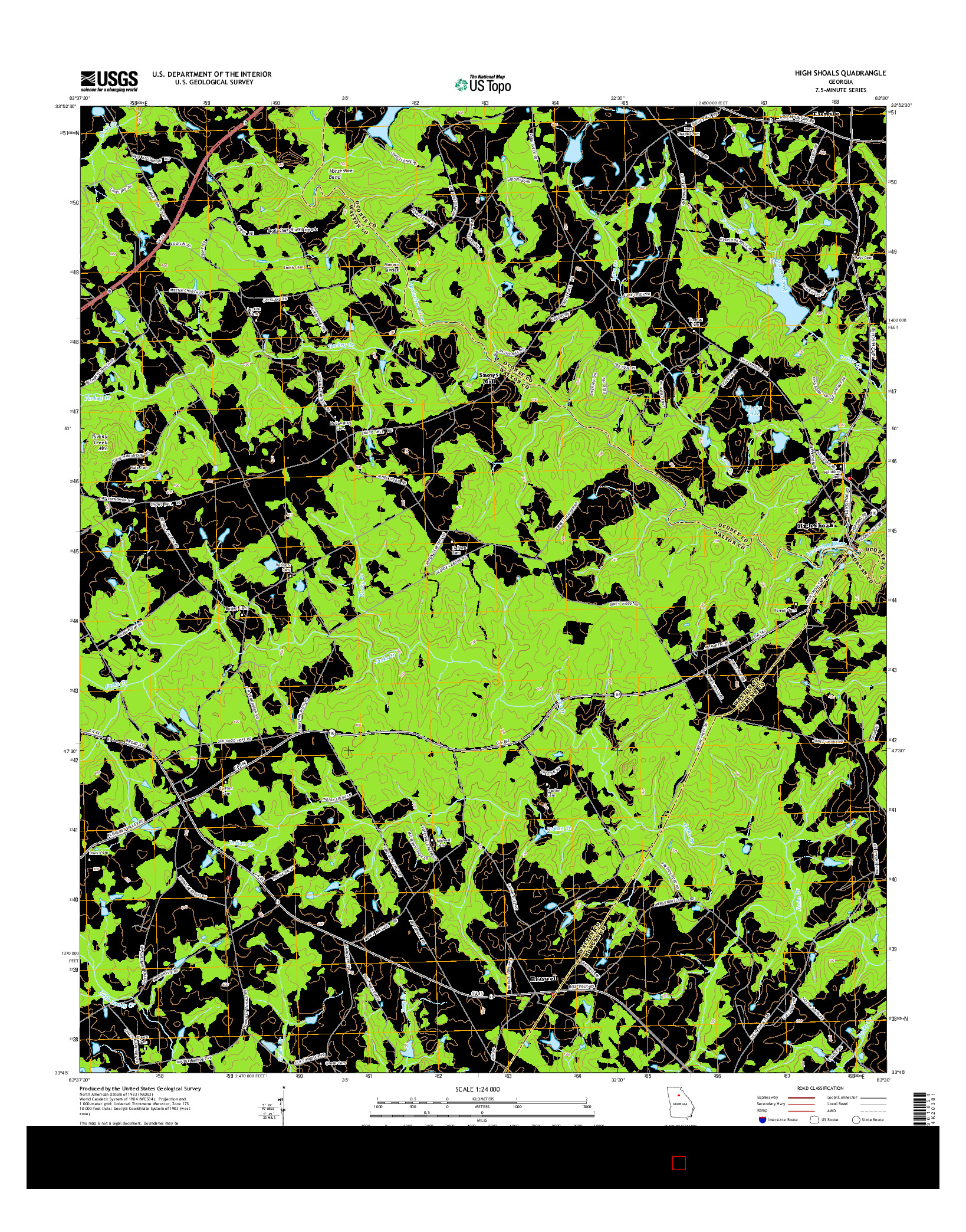 USGS US TOPO 7.5-MINUTE MAP FOR HIGH SHOALS, GA 2014