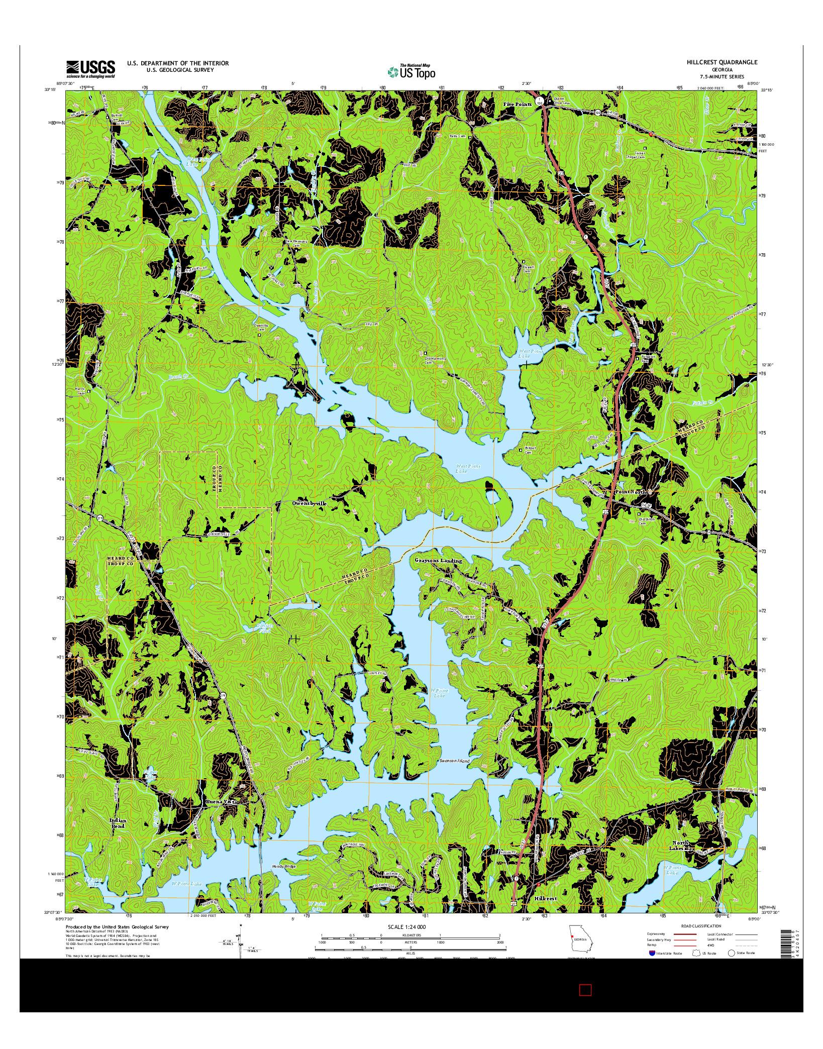 USGS US TOPO 7.5-MINUTE MAP FOR HILLCREST, GA 2014