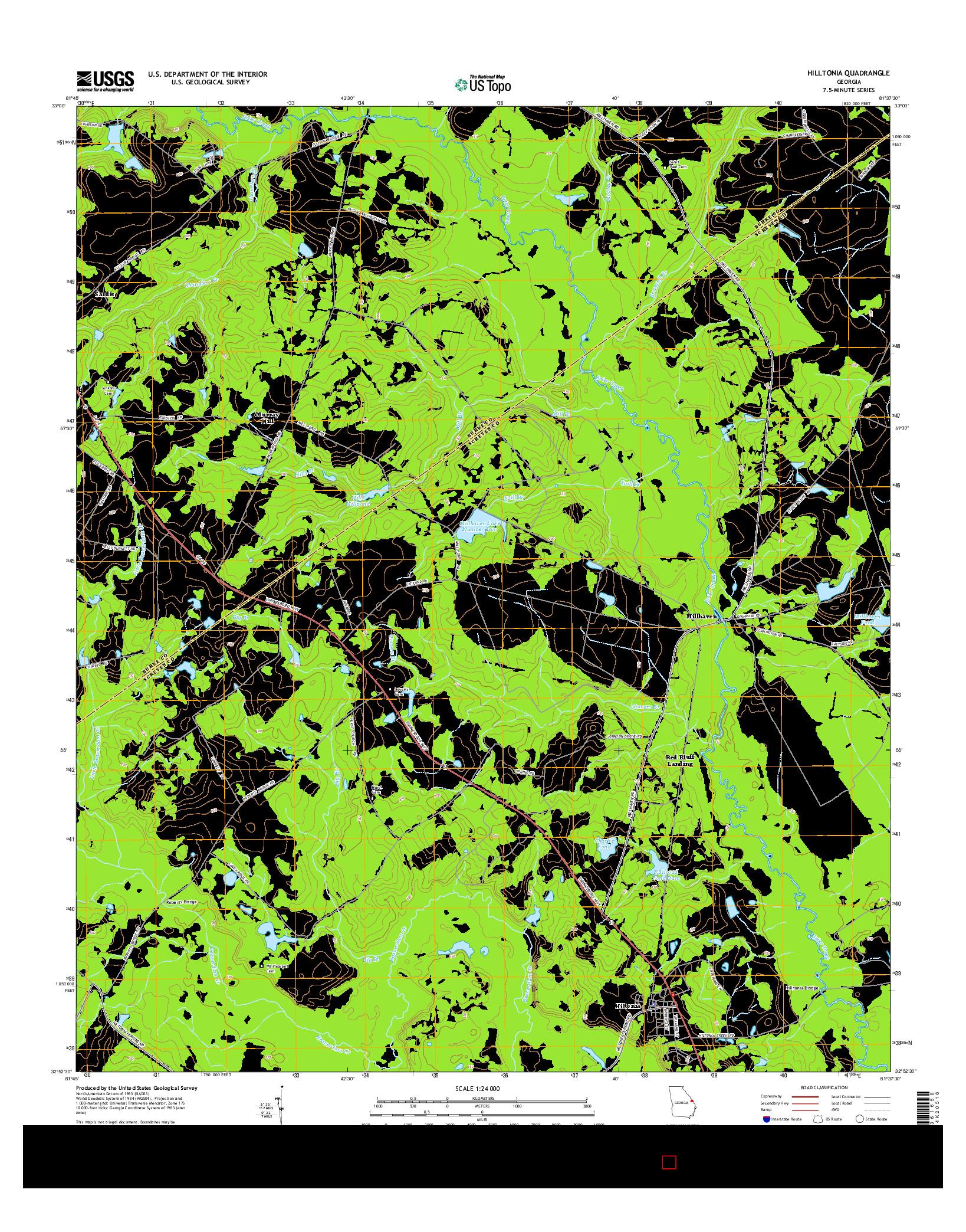 USGS US TOPO 7.5-MINUTE MAP FOR HILLTONIA, GA 2014