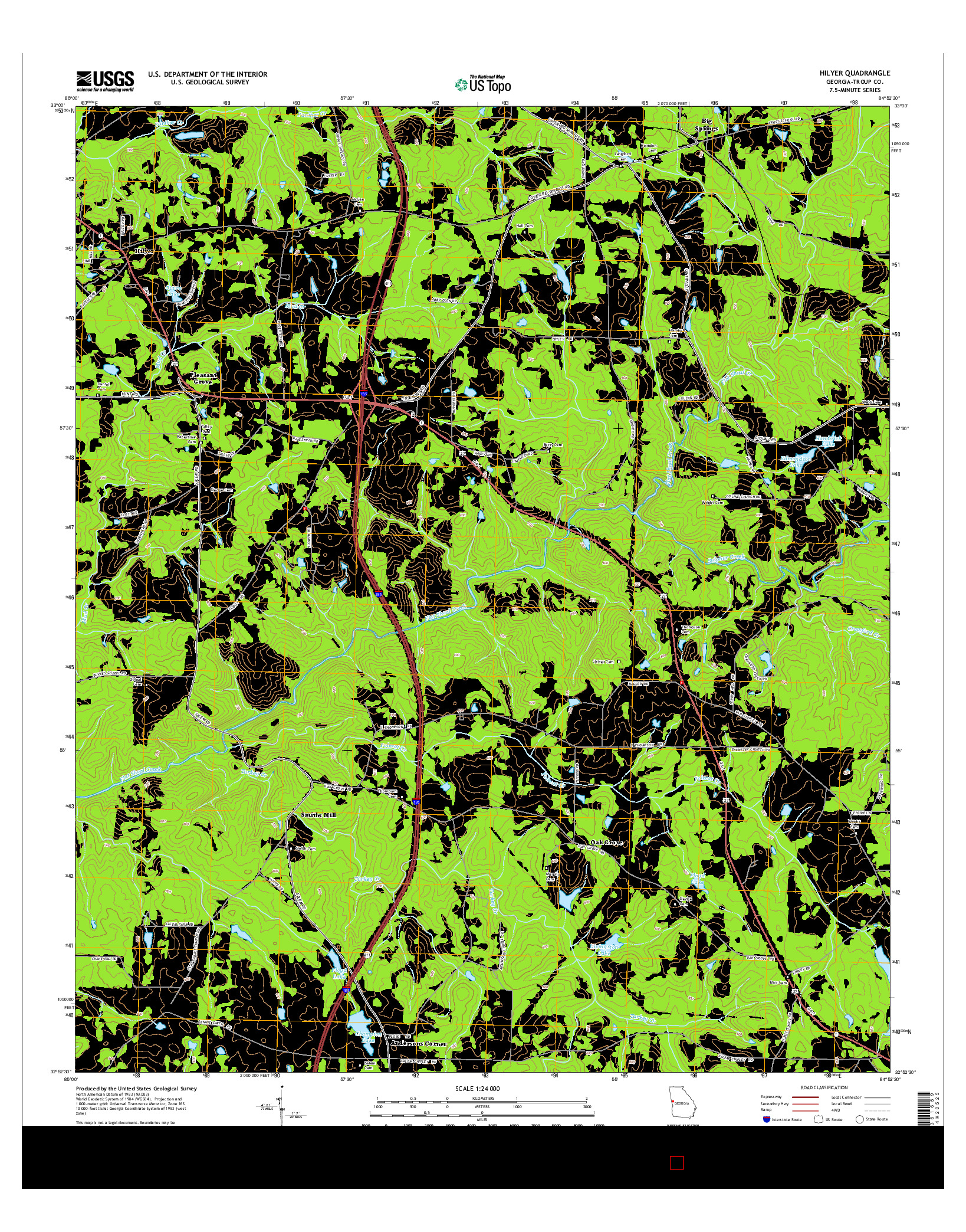 USGS US TOPO 7.5-MINUTE MAP FOR HILYER, GA 2014
