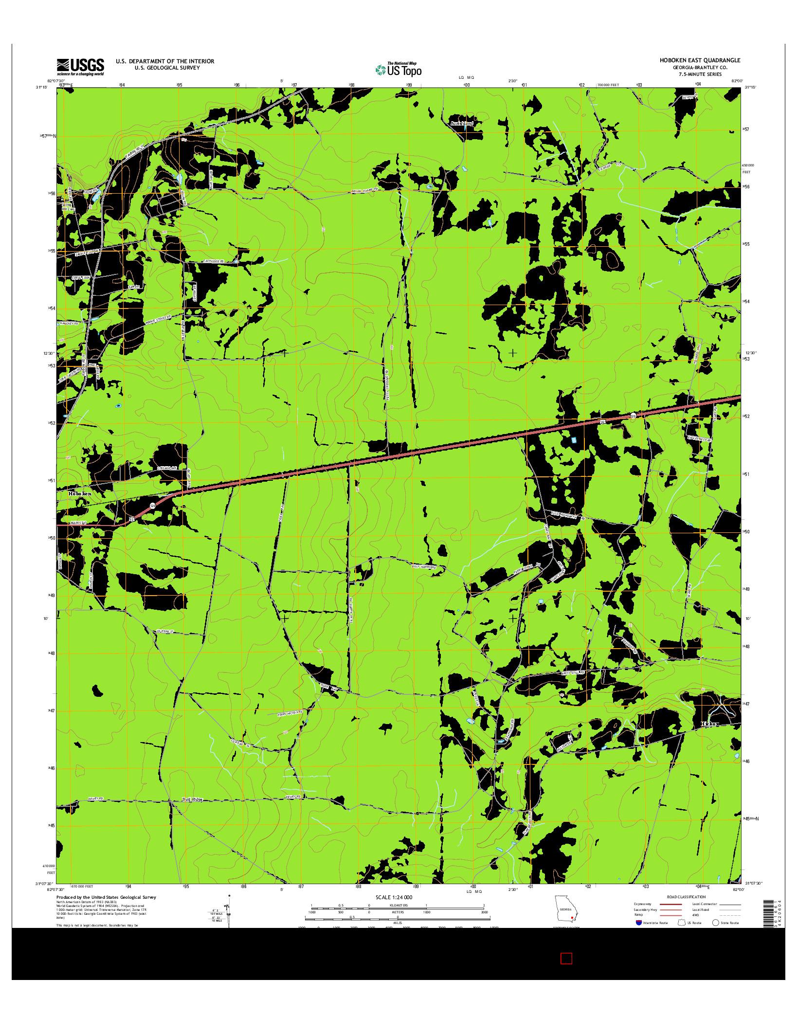 USGS US TOPO 7.5-MINUTE MAP FOR HOBOKEN EAST, GA 2014