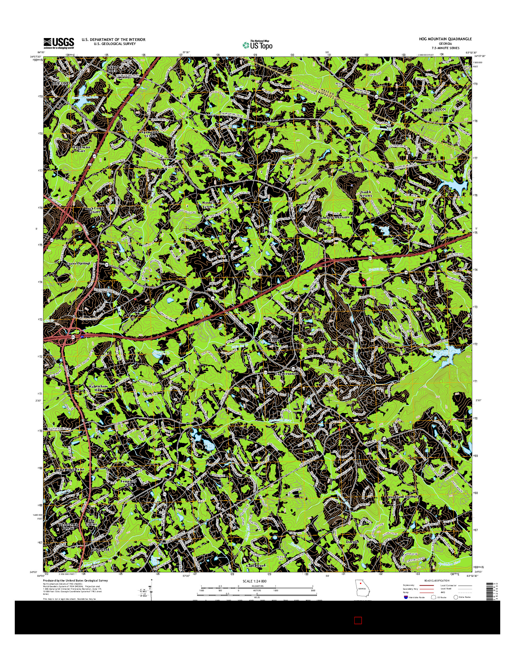 USGS US TOPO 7.5-MINUTE MAP FOR HOG MOUNTAIN, GA 2014