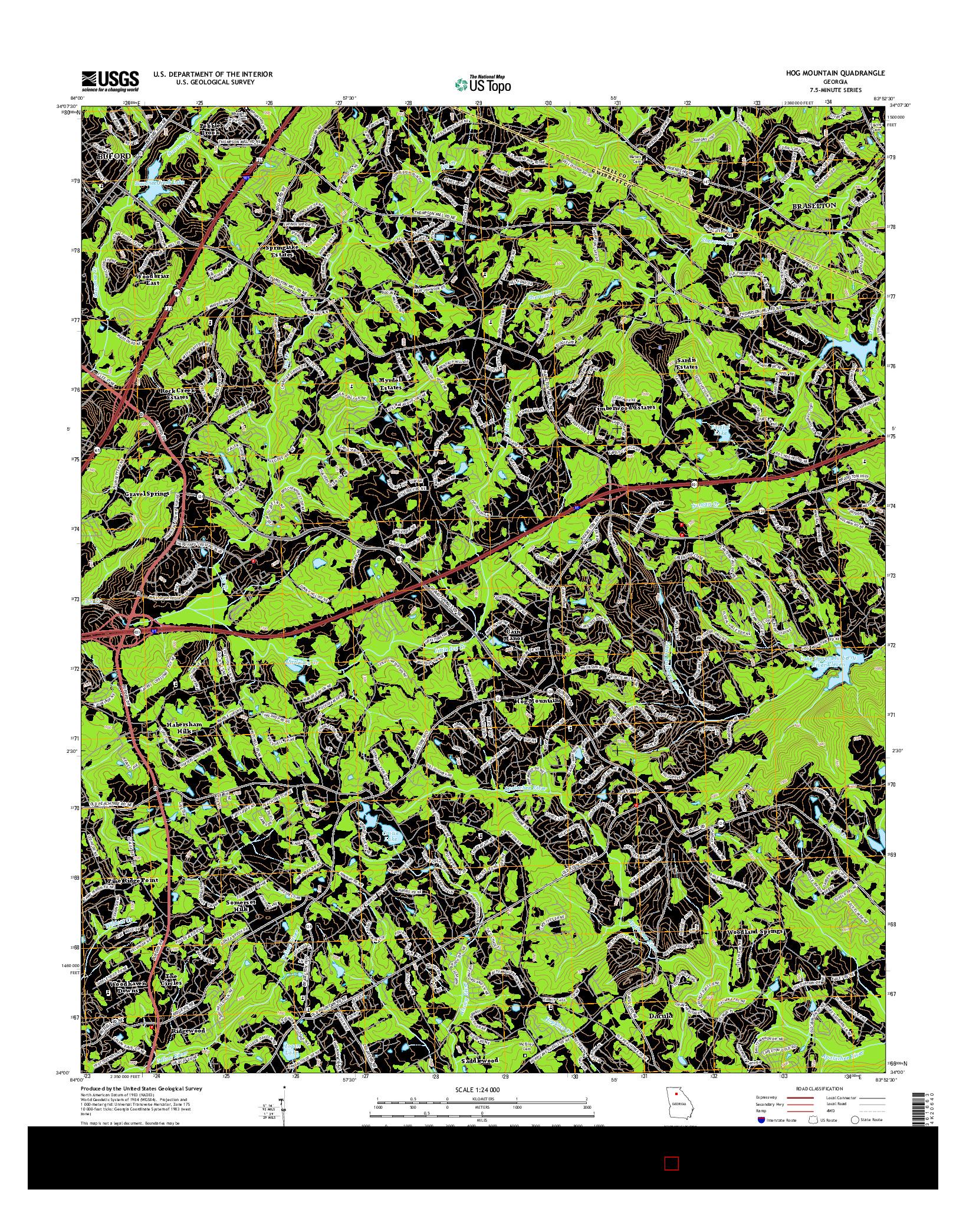 USGS US TOPO 7.5-MINUTE MAP FOR HOG MOUNTAIN, GA 2014