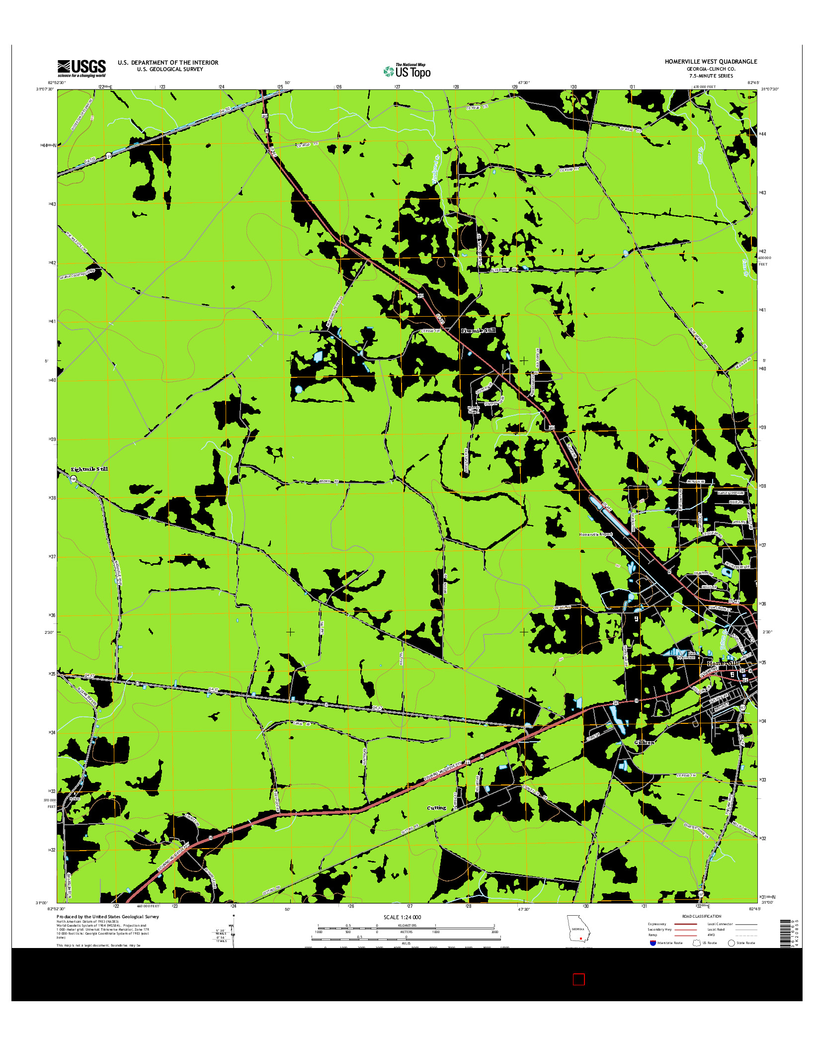 USGS US TOPO 7.5-MINUTE MAP FOR HOMERVILLE WEST, GA 2014