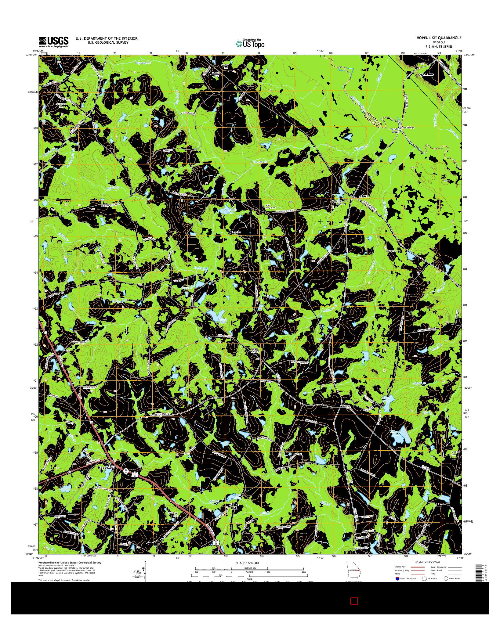 USGS US TOPO 7.5-MINUTE MAP FOR HOPEULIKIT, GA 2014