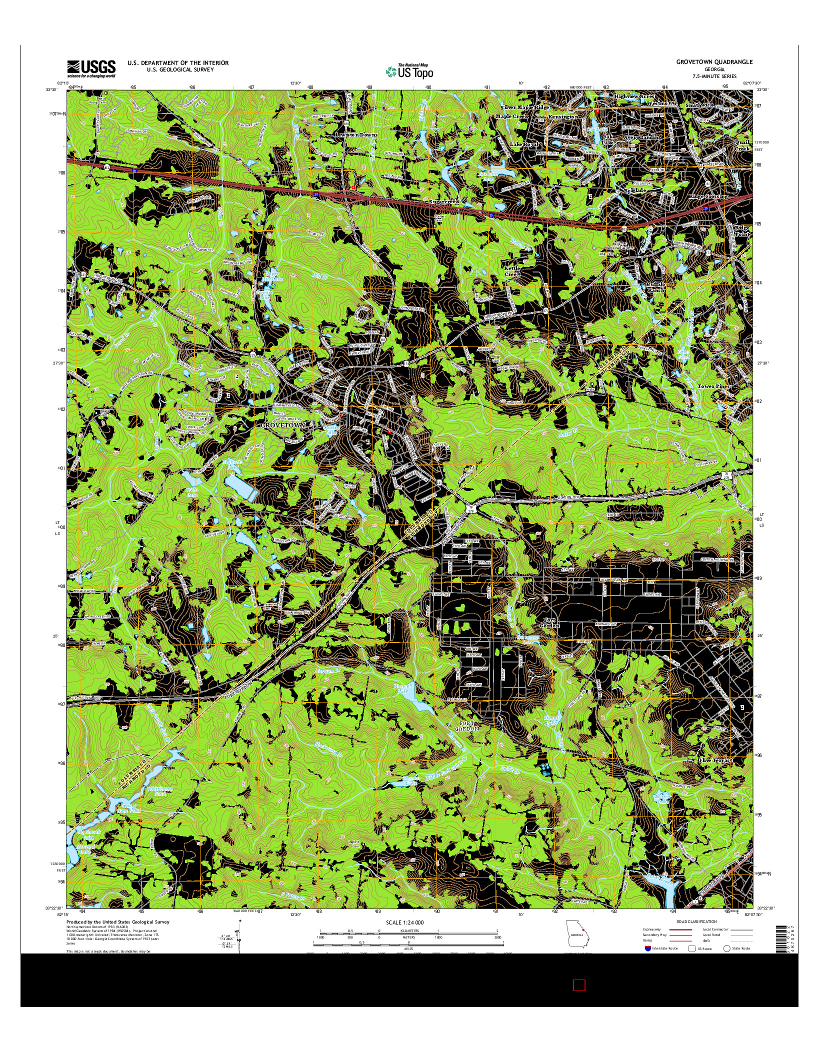 USGS US TOPO 7.5-MINUTE MAP FOR GROVETOWN, GA 2014