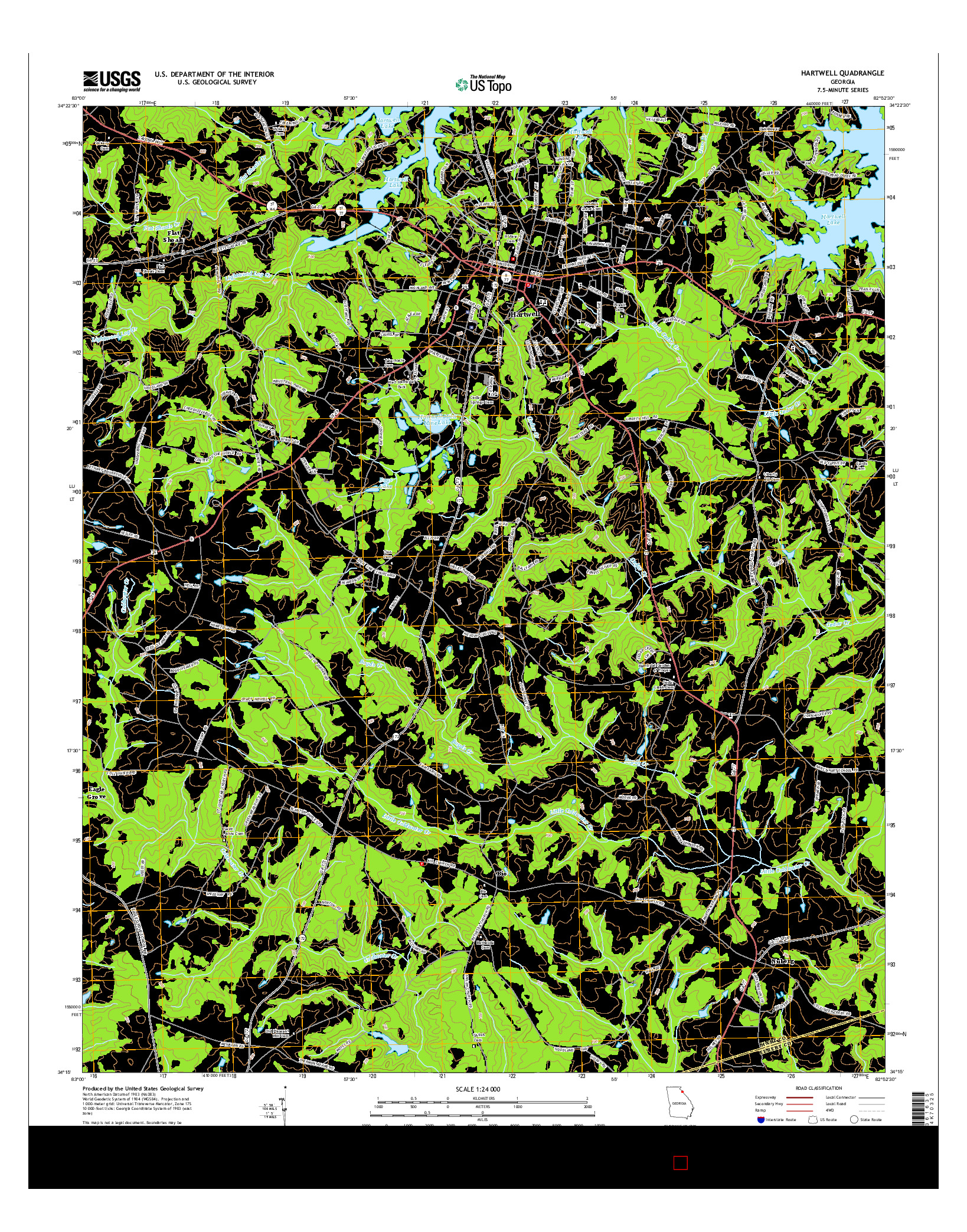 USGS US TOPO 7.5-MINUTE MAP FOR HARTWELL, GA 2014