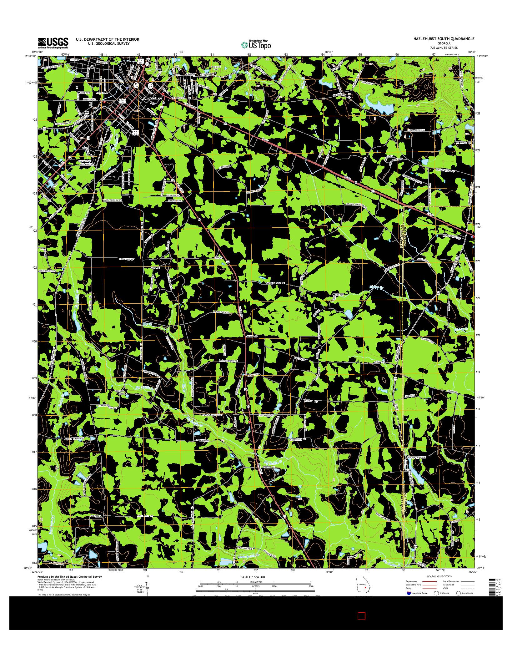 USGS US TOPO 7.5-MINUTE MAP FOR HAZLEHURST SOUTH, GA 2014