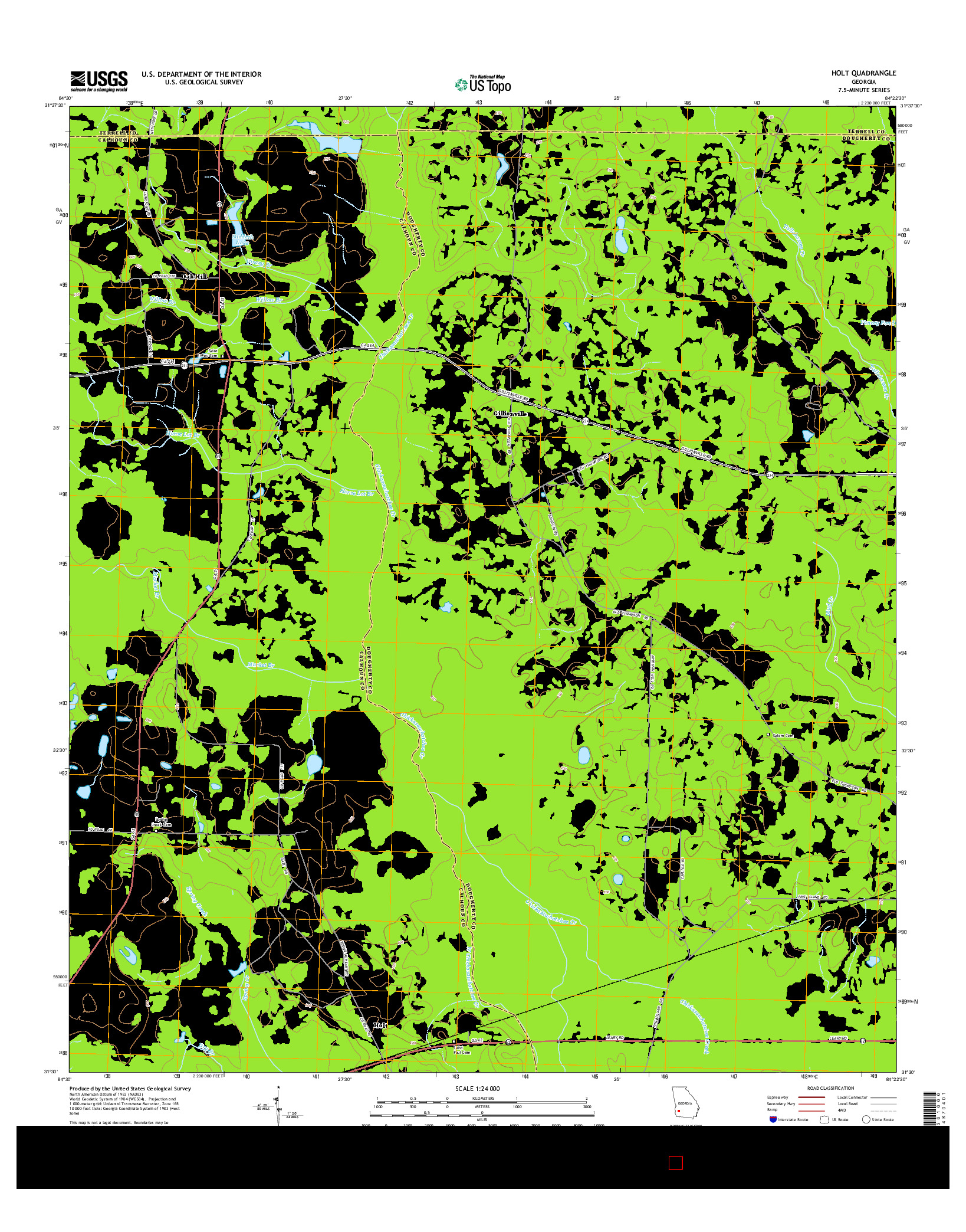 USGS US TOPO 7.5-MINUTE MAP FOR HOLT, GA 2014
