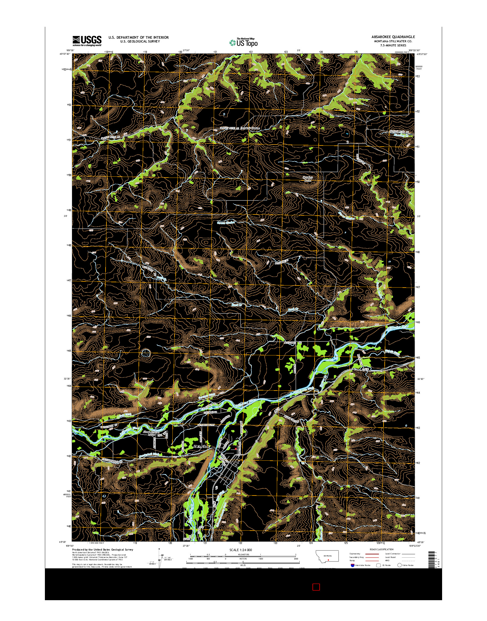 USGS US TOPO 7.5-MINUTE MAP FOR ABSAROKEE, MT 2014