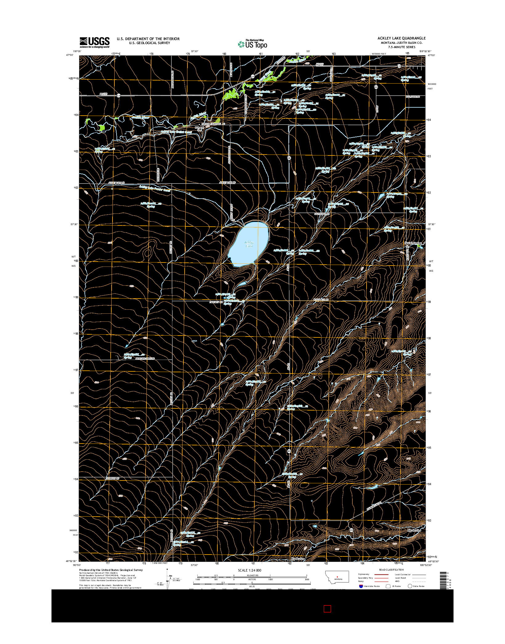 USGS US TOPO 7.5-MINUTE MAP FOR ACKLEY LAKE, MT 2014